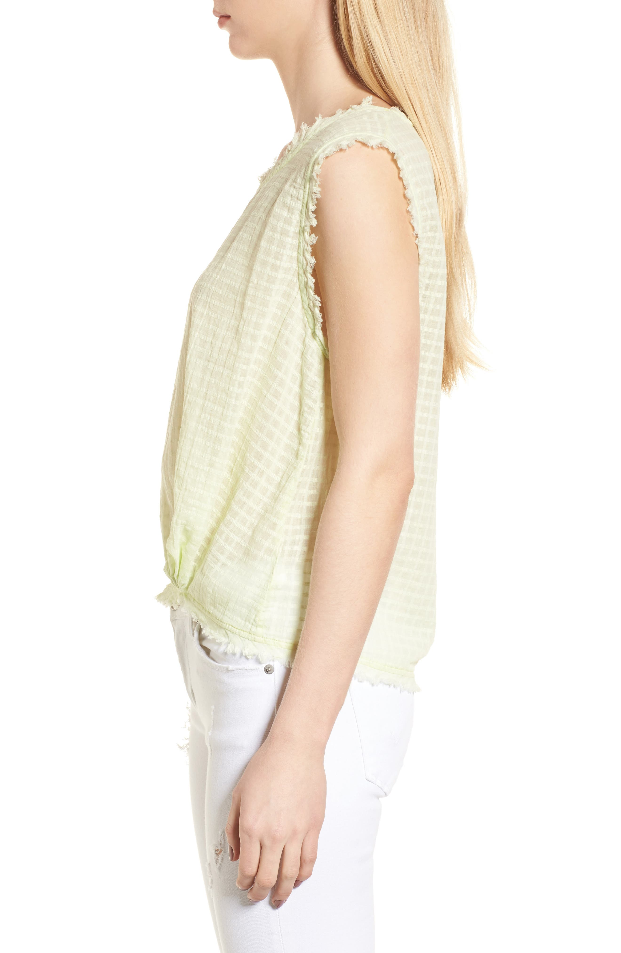 Check Woven Tank,                             Alternate thumbnail 4, color,                             Yellow Glow