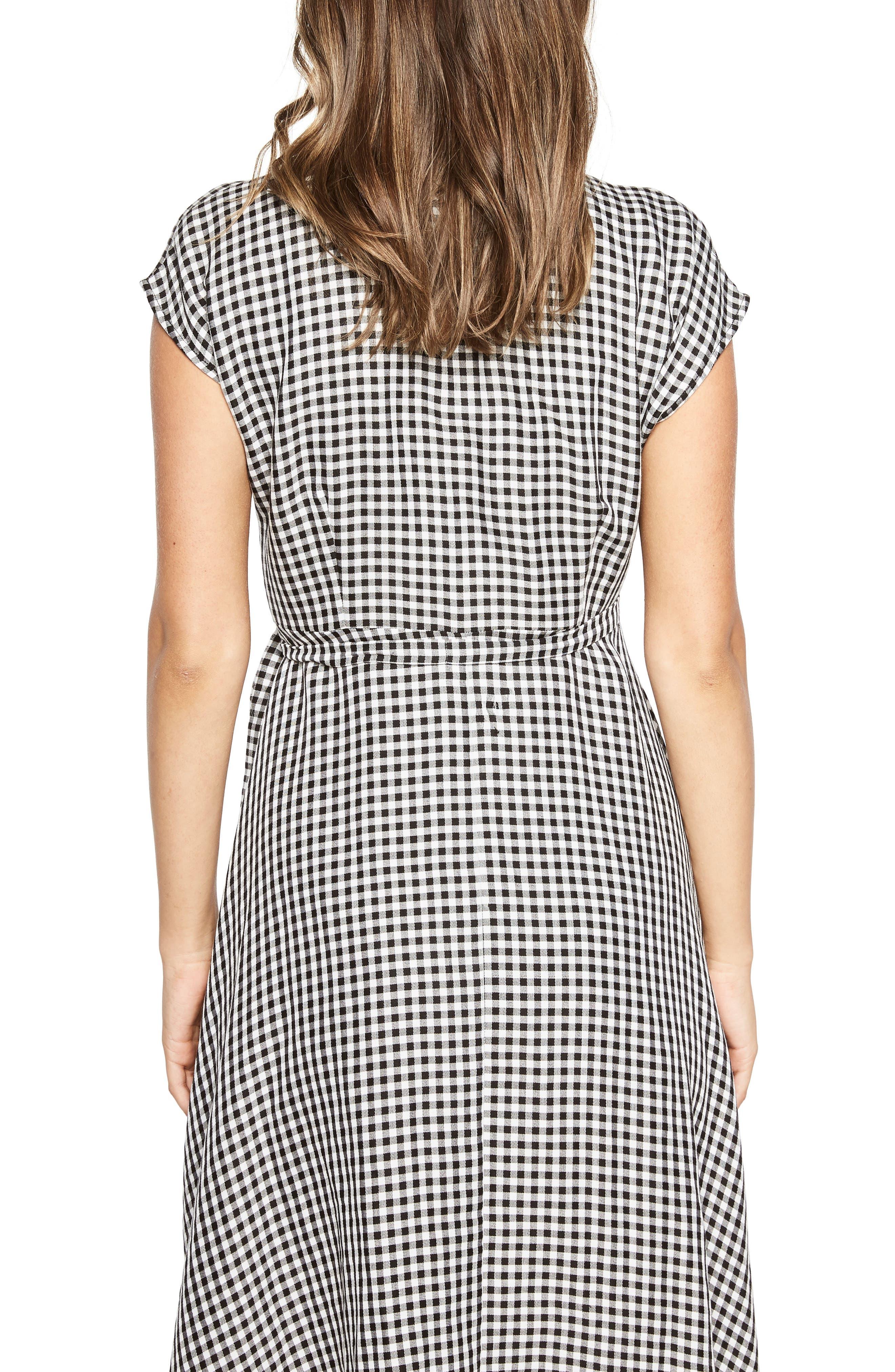 Check Asymmetrical Wrap Dress,                             Alternate thumbnail 3, color,                             Black/ White