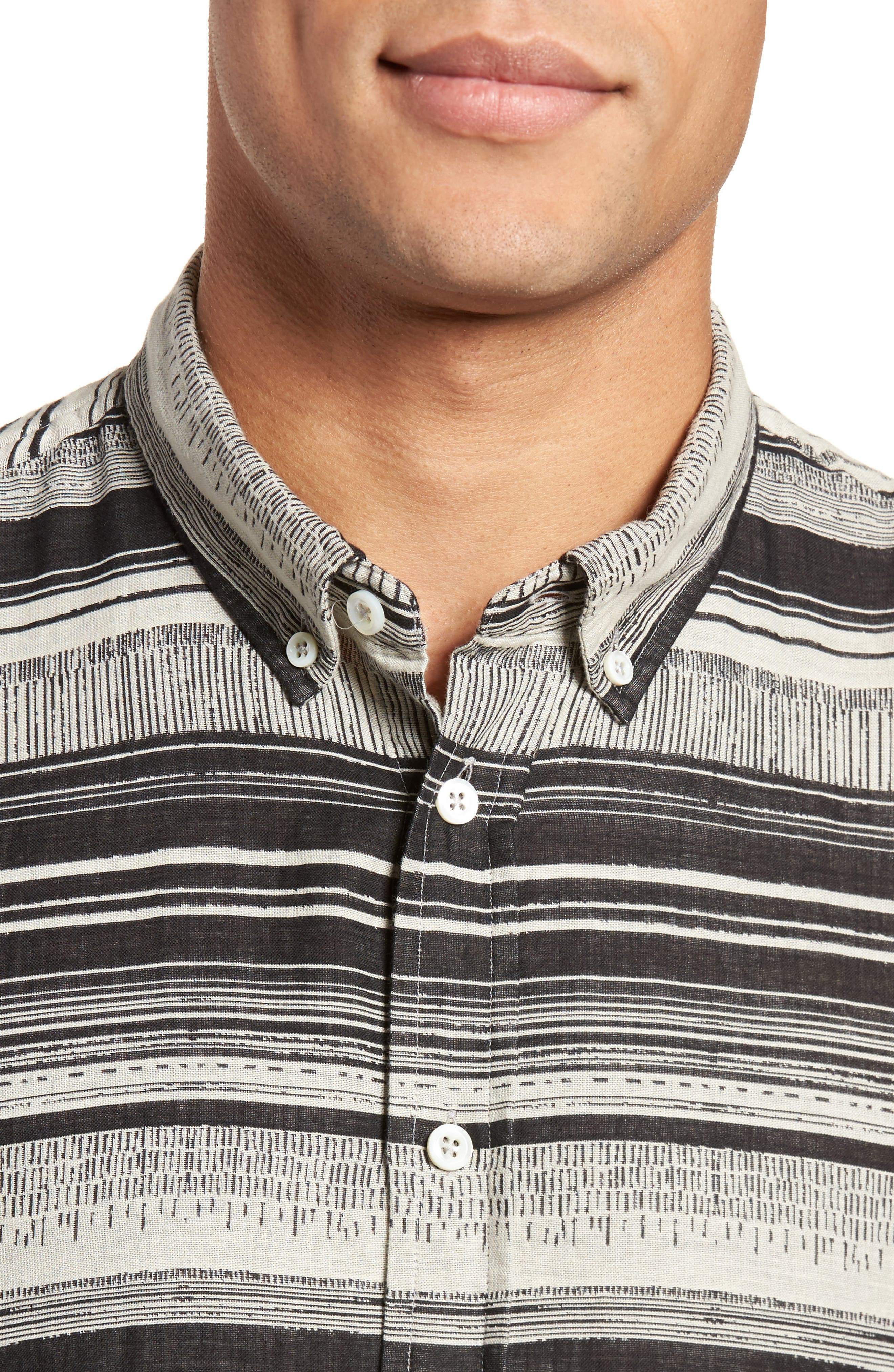 Murphy Stripe Short Sleeve Sport Shirt,                             Alternate thumbnail 6, color,                             Black/ White