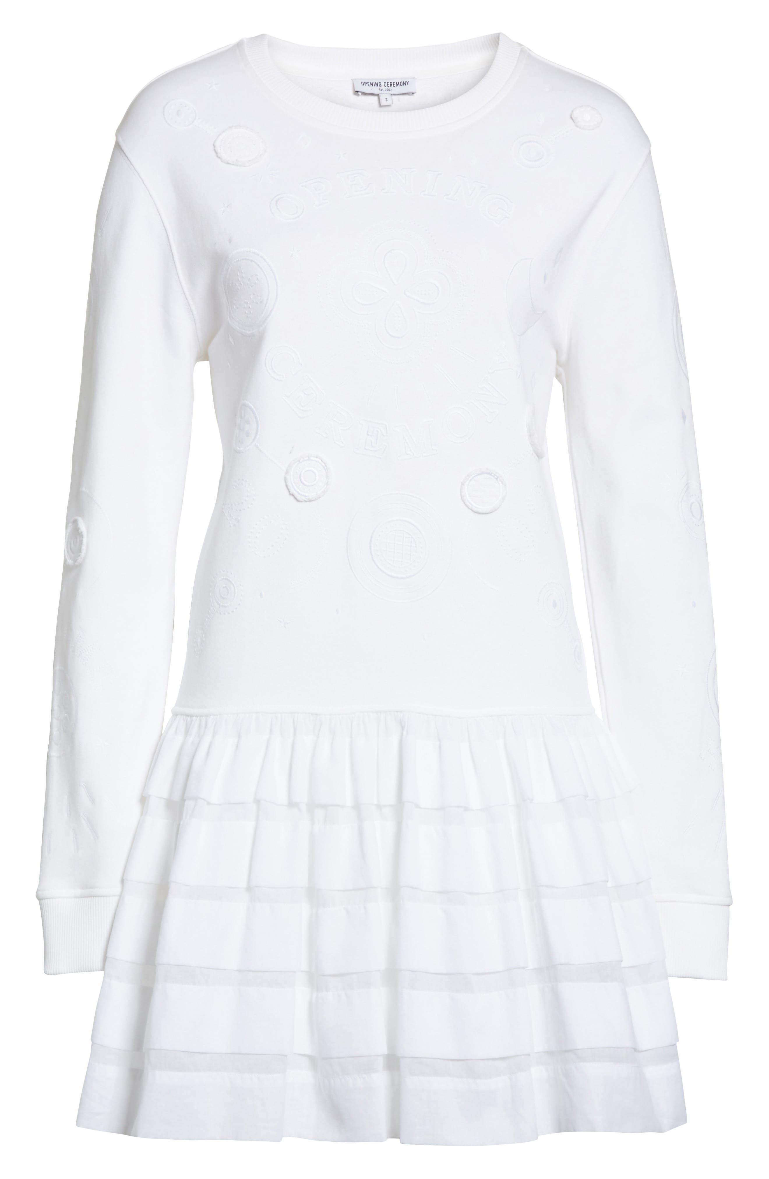Embroidered Ruffle Hem Dress,                             Alternate thumbnail 6, color,                             White