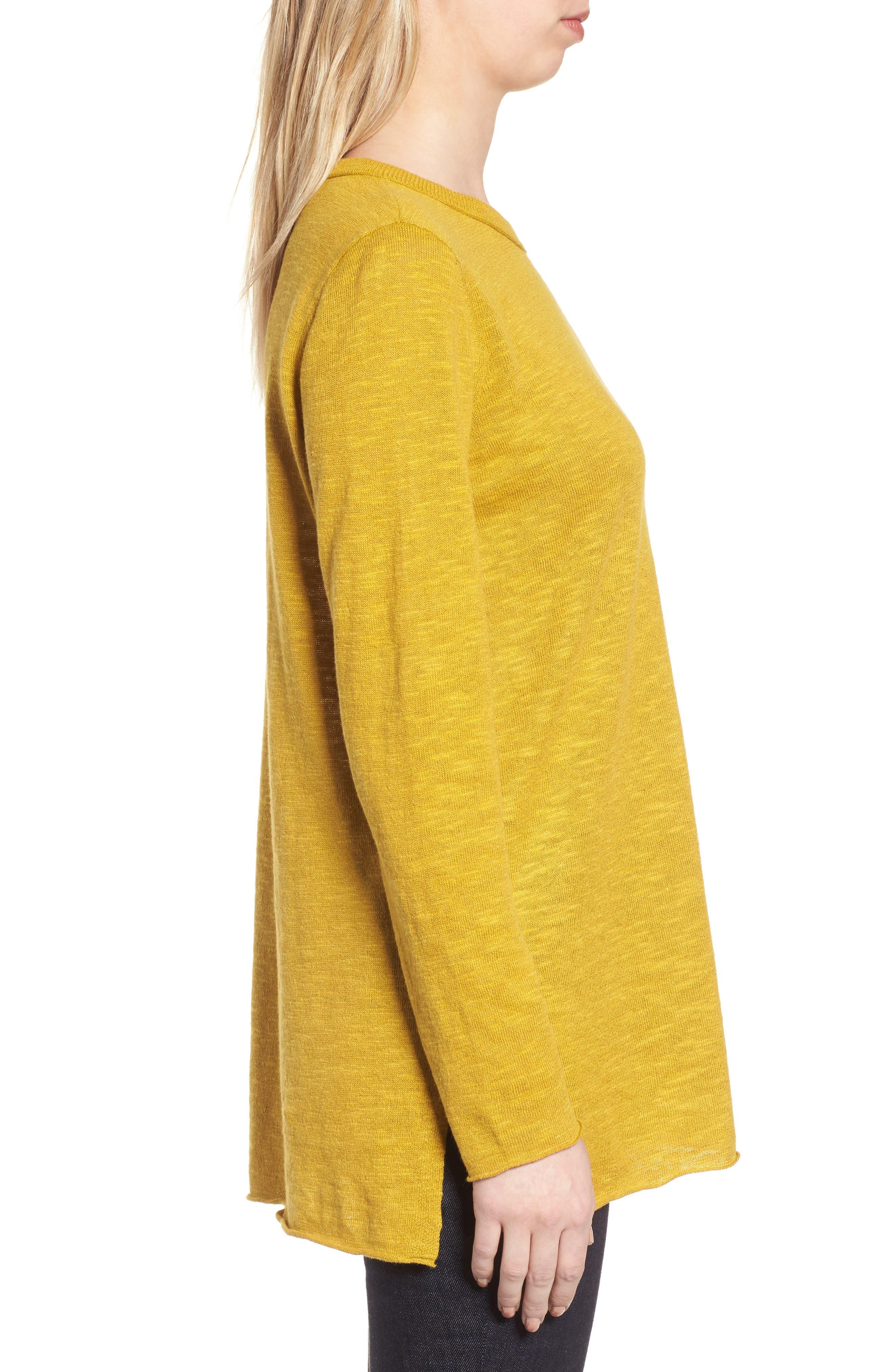 Organic Knit Crewneck Tunic Top,                             Alternate thumbnail 3, color,                             Mustard Seed