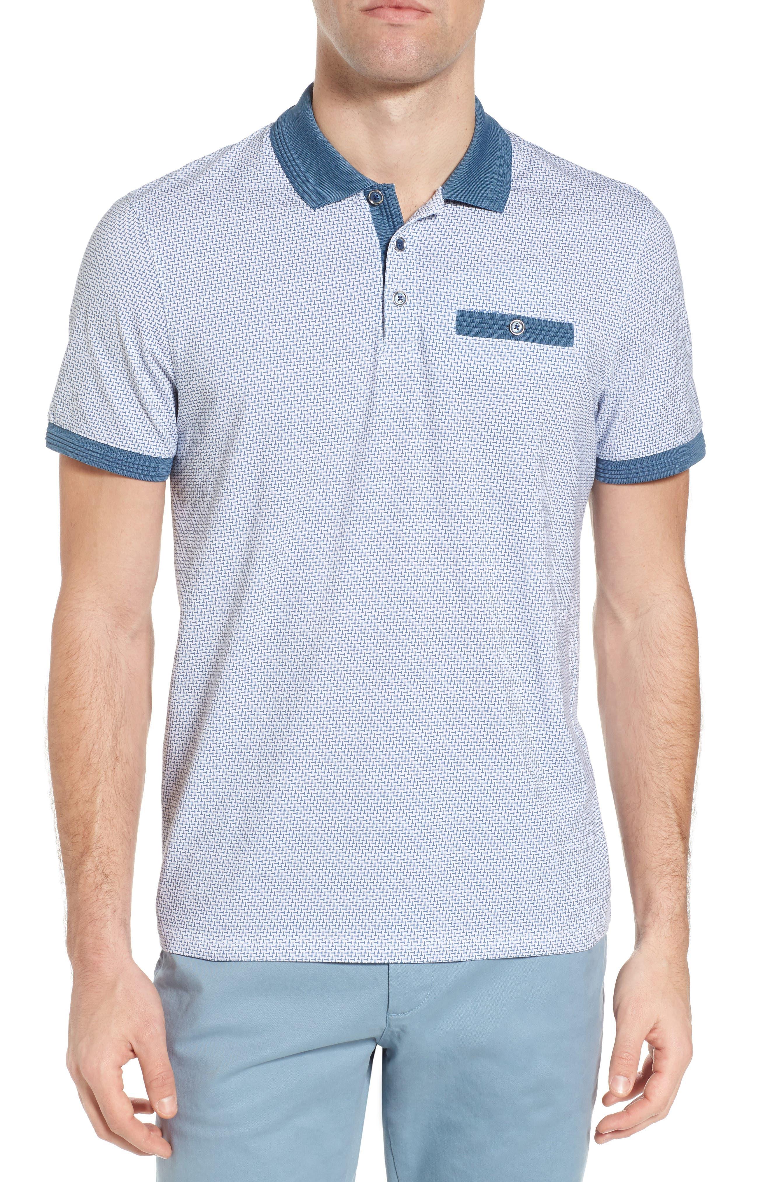 Sloughi Trim Fit Stretch Polo Shirt,                         Main,                         color, Blue