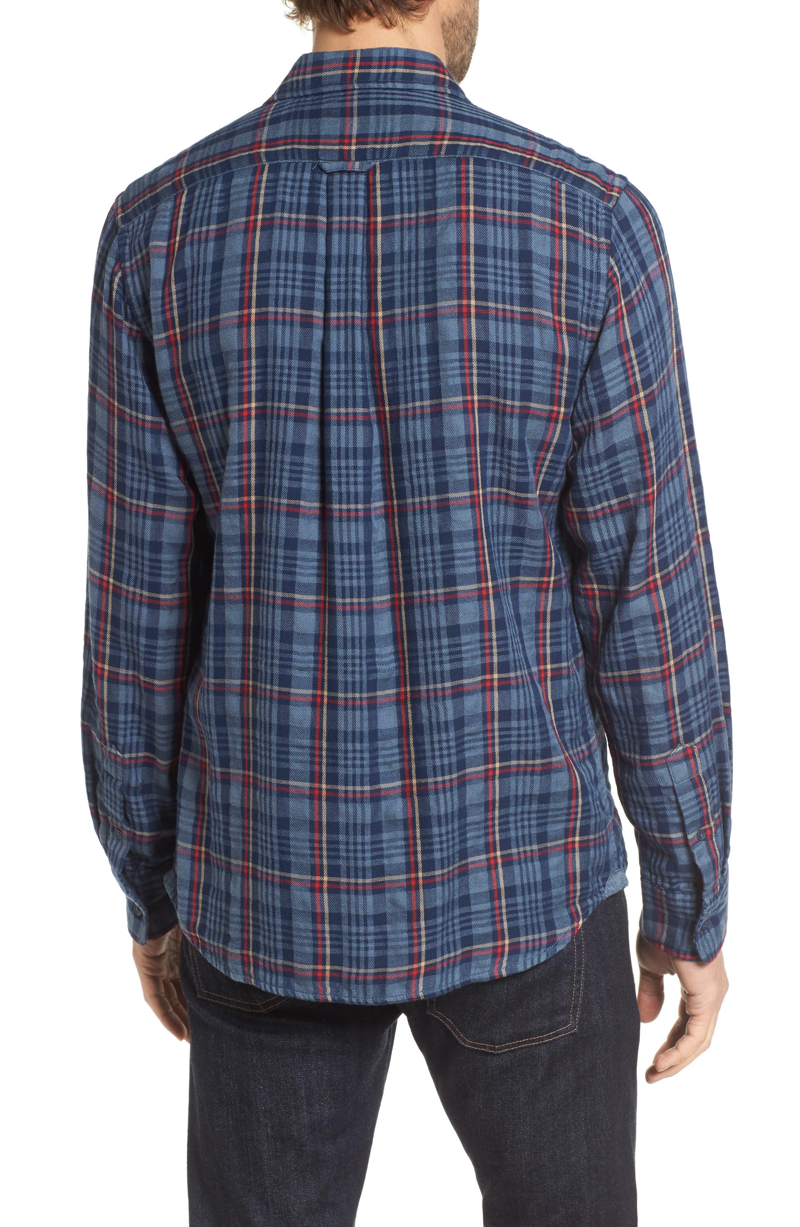 Alton Double Cloth Plaid Sport Shirt,                             Alternate thumbnail 2, color,                             Navy Grey Plaid