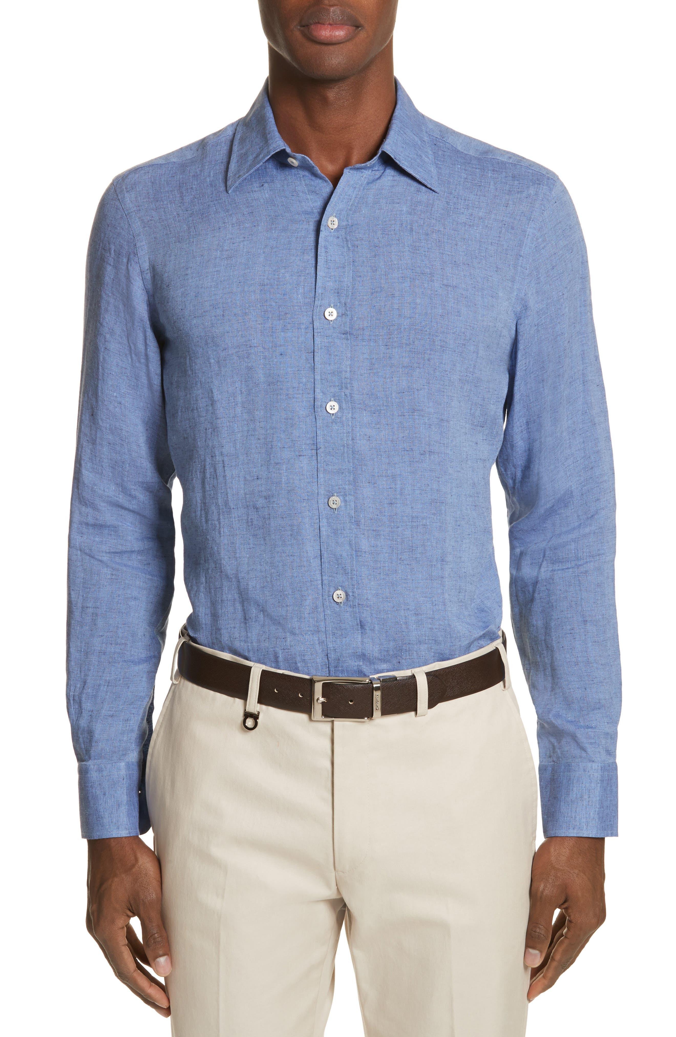 Slim Fit Linen Sport Shirt,                         Main,                         color, Med Blue