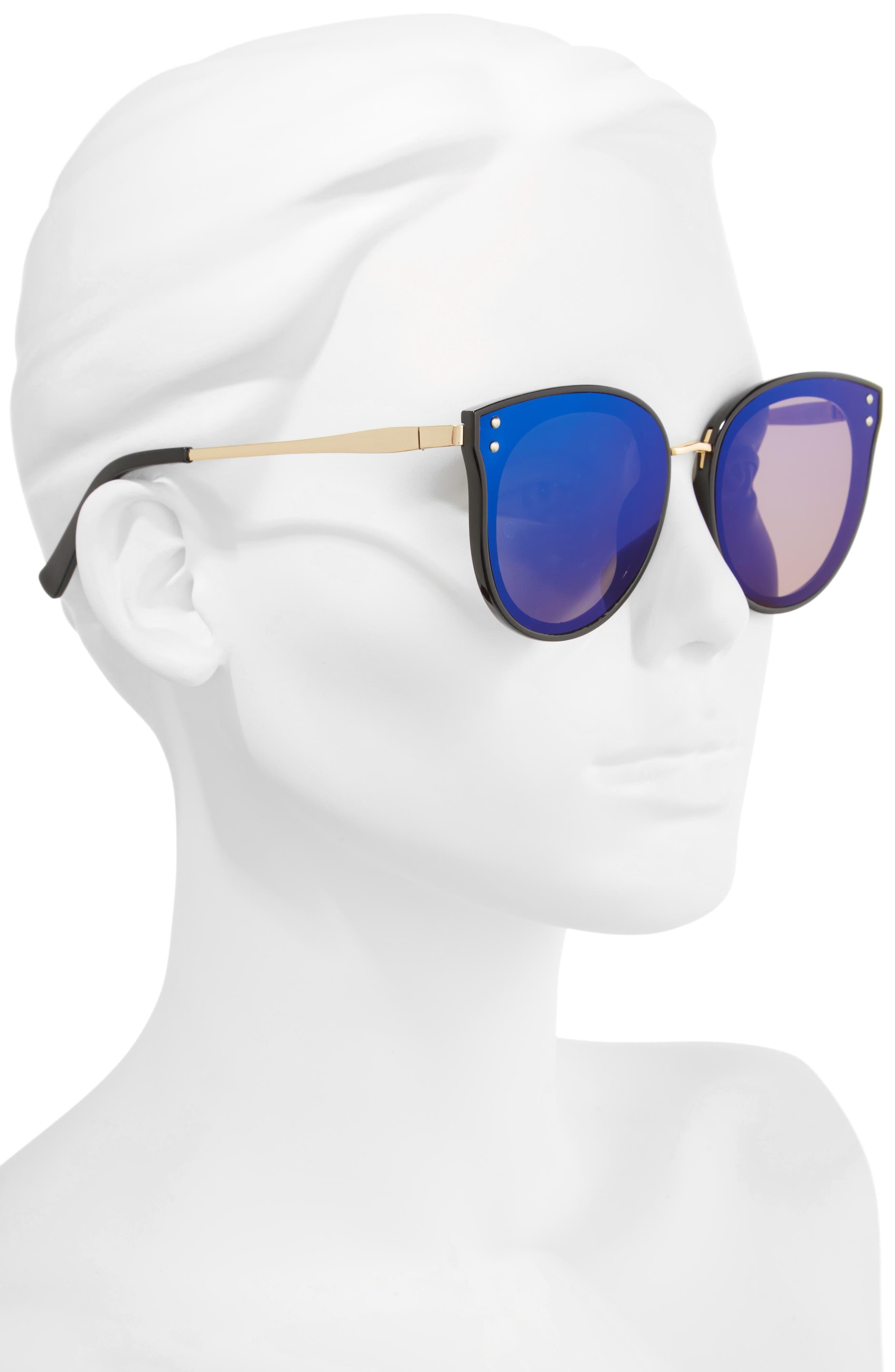 51mm Round Sunglasses,                             Alternate thumbnail 2, color,                             Black/ Blue