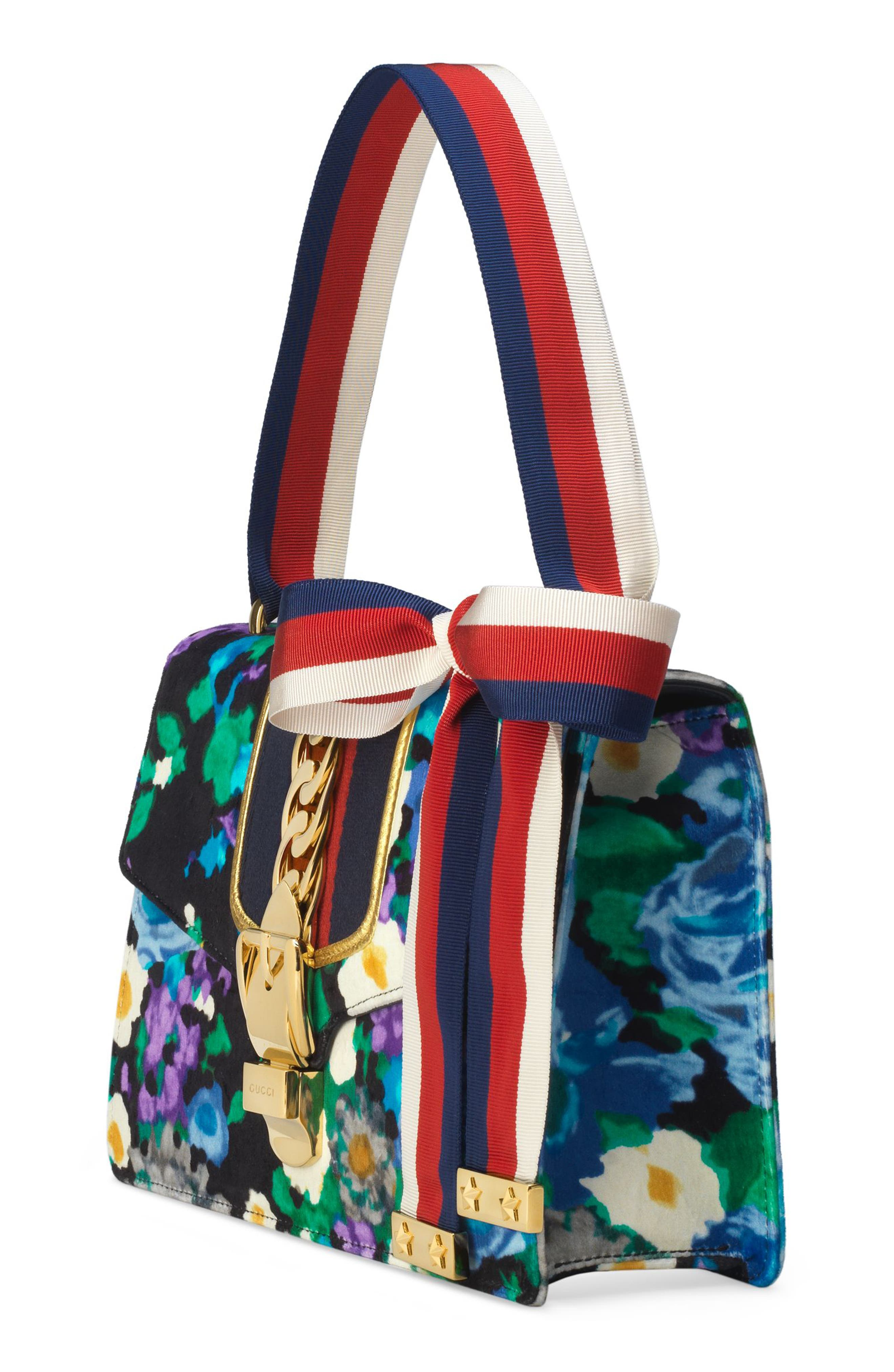 Small Floral Print Leather Shoulder Bag,                             Alternate thumbnail 4, color,                             Black/ Blue Red Blue