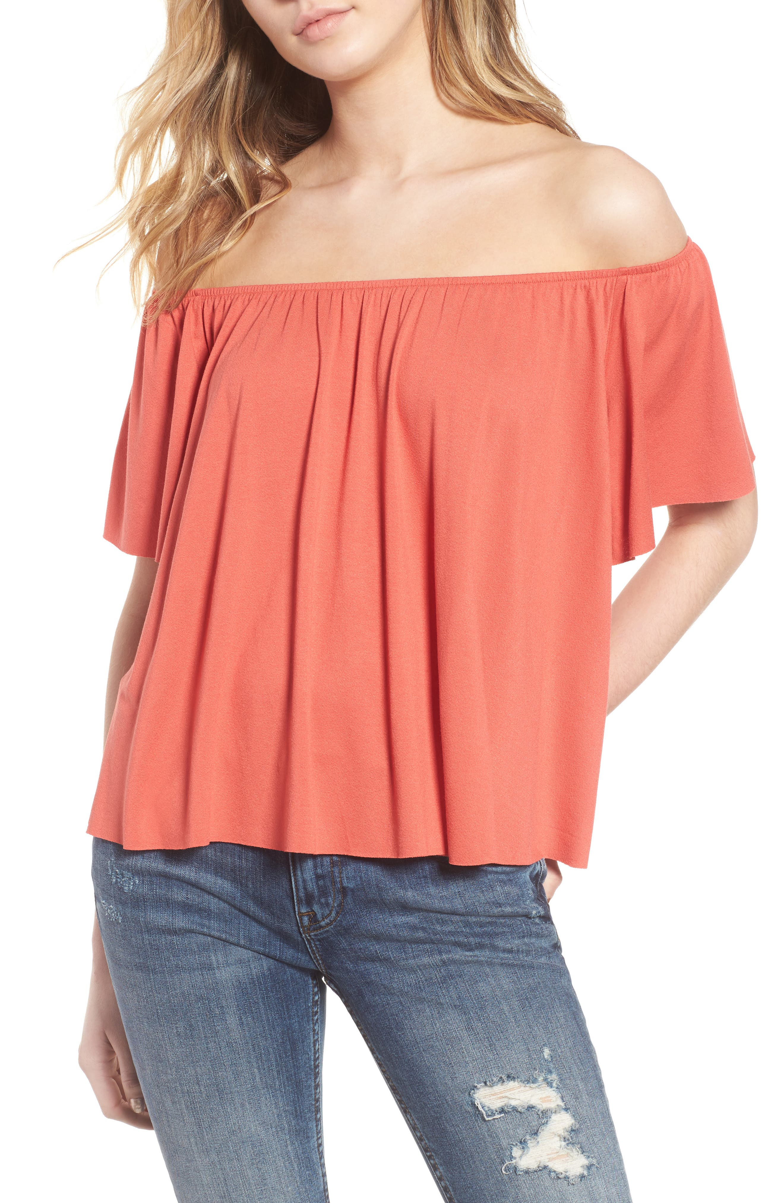 Off the Shoulder Top,                             Main thumbnail 1, color,                             Rust Sienna
