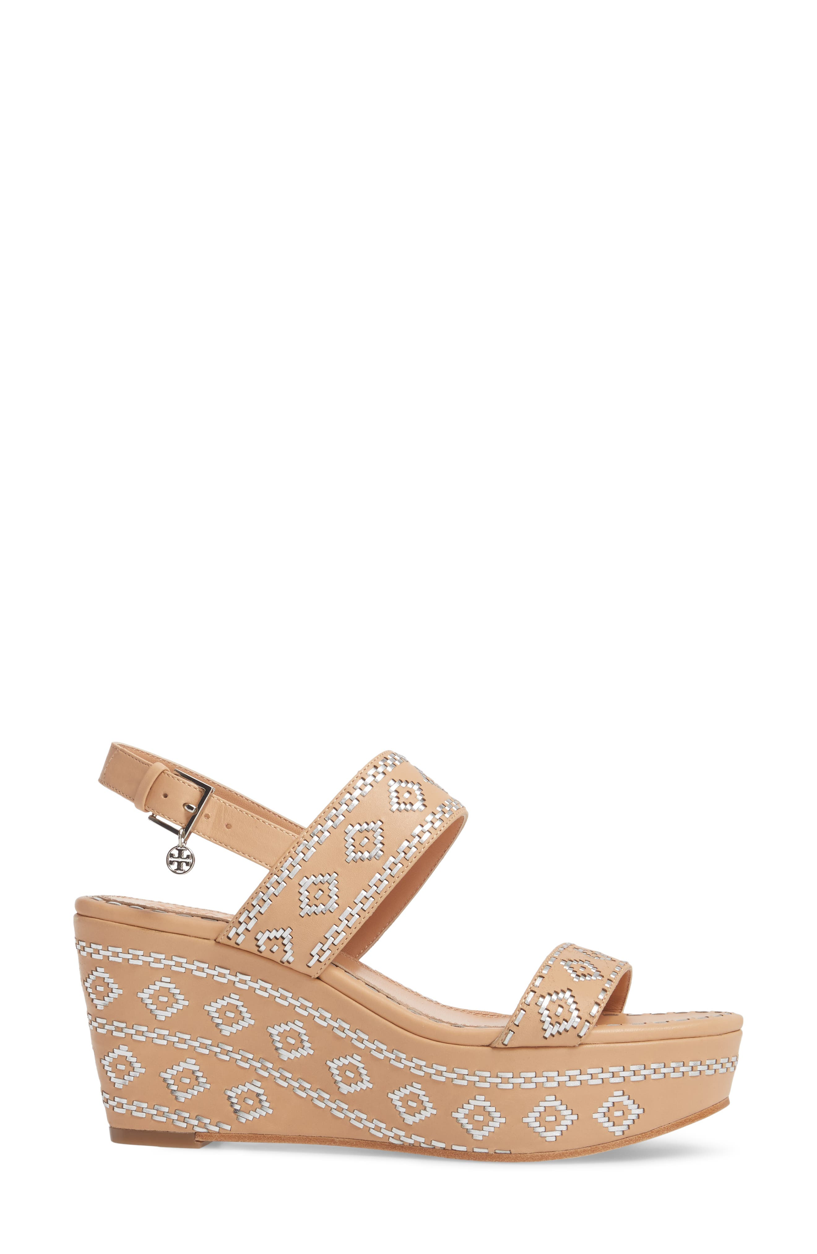 Blake Embroidered Platform Wedge,                             Alternate thumbnail 3, color,                             Natural Vachetta/ Silver