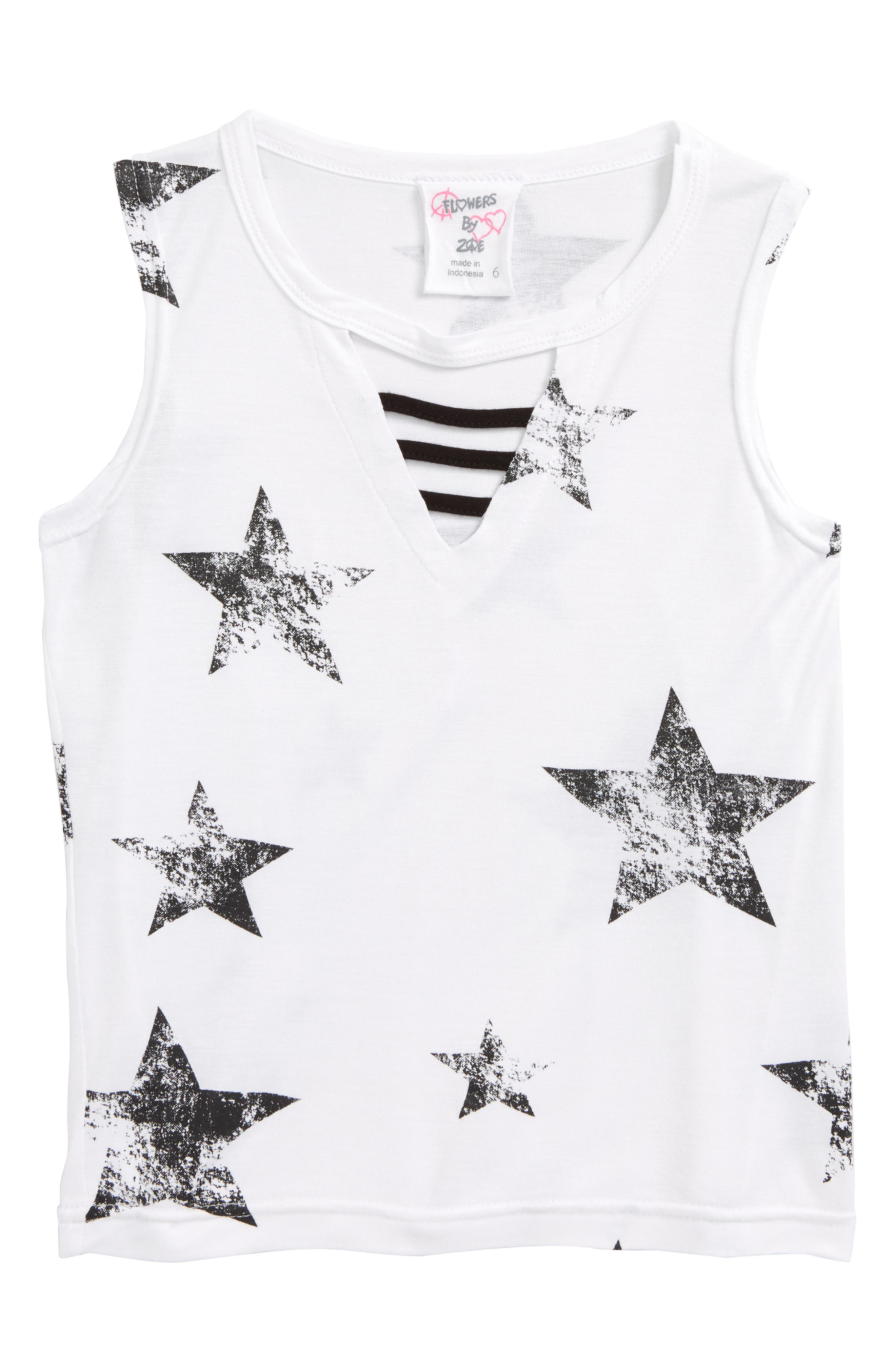 Star Print Sleeveless Tee,                             Main thumbnail 1, color,                             White-Wbstrw-Comb-Black