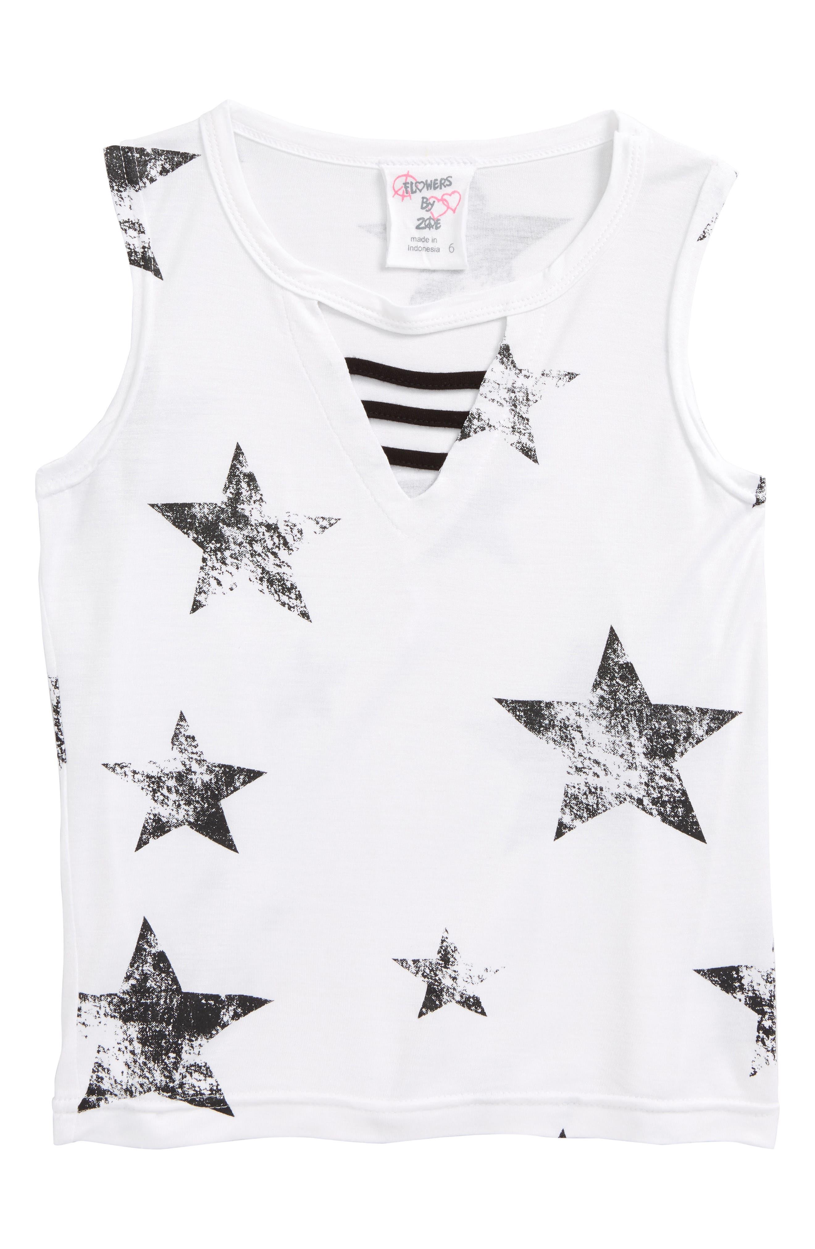 Star Print Sleeveless Tee,                         Main,                         color, White-Wbstrw-Comb-Black