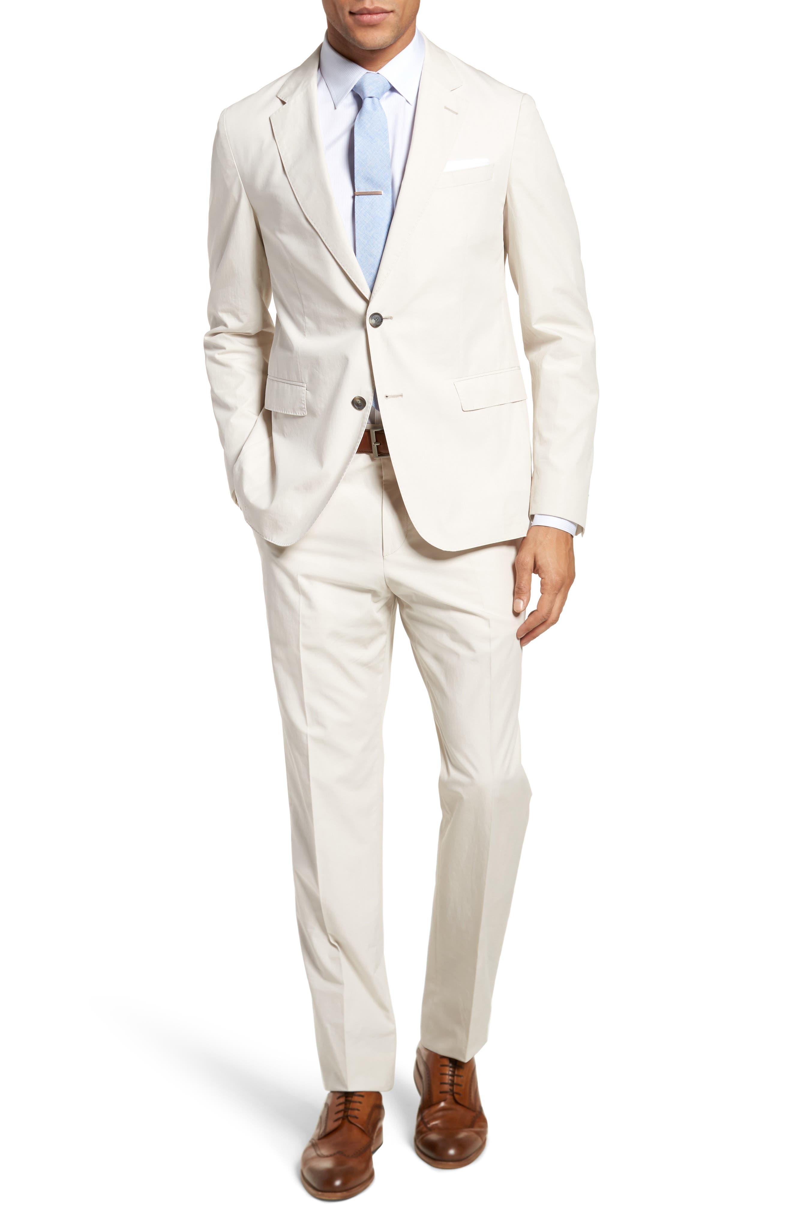 Nylen/Perry Trim Fit Solid Cotton Suit,                             Main thumbnail 1, color,                             Ivory