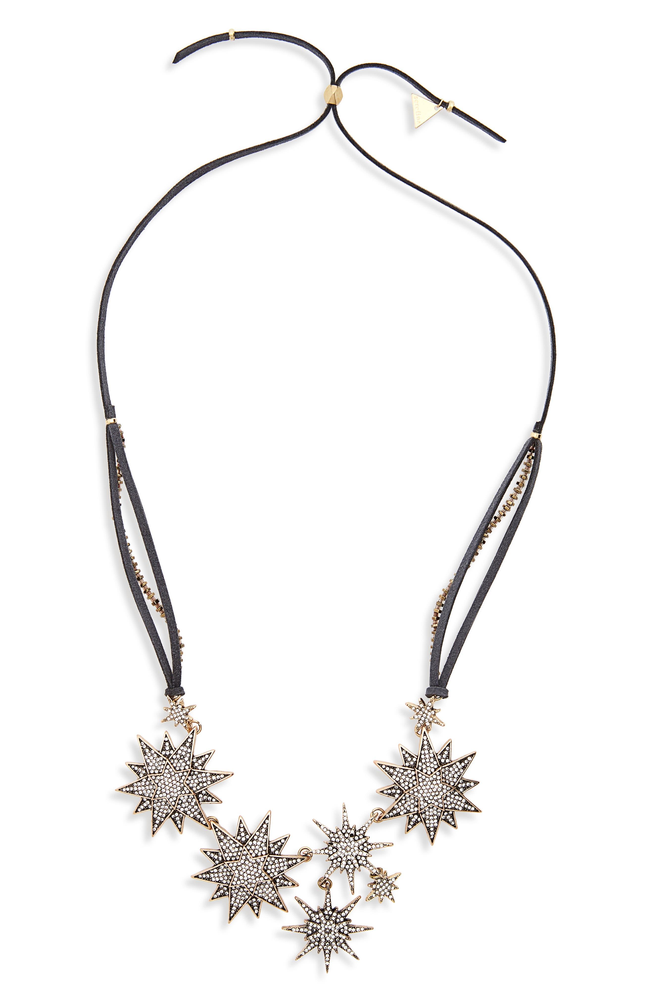 Stars Aligned Bib Necklace,                         Main,                         color, Grey