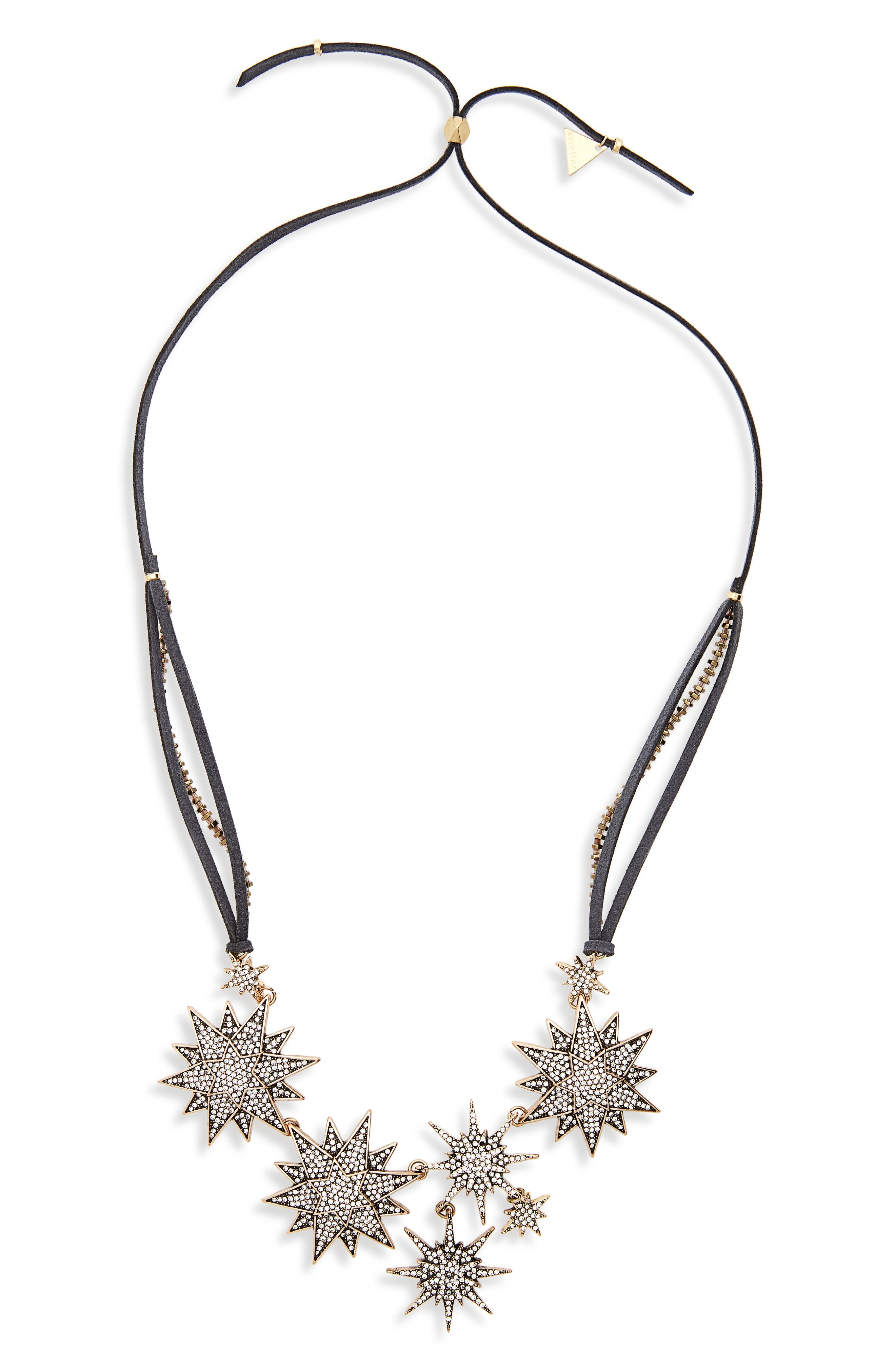 Stars Aligned Bib Necklace,                         Main,                         color, Grey