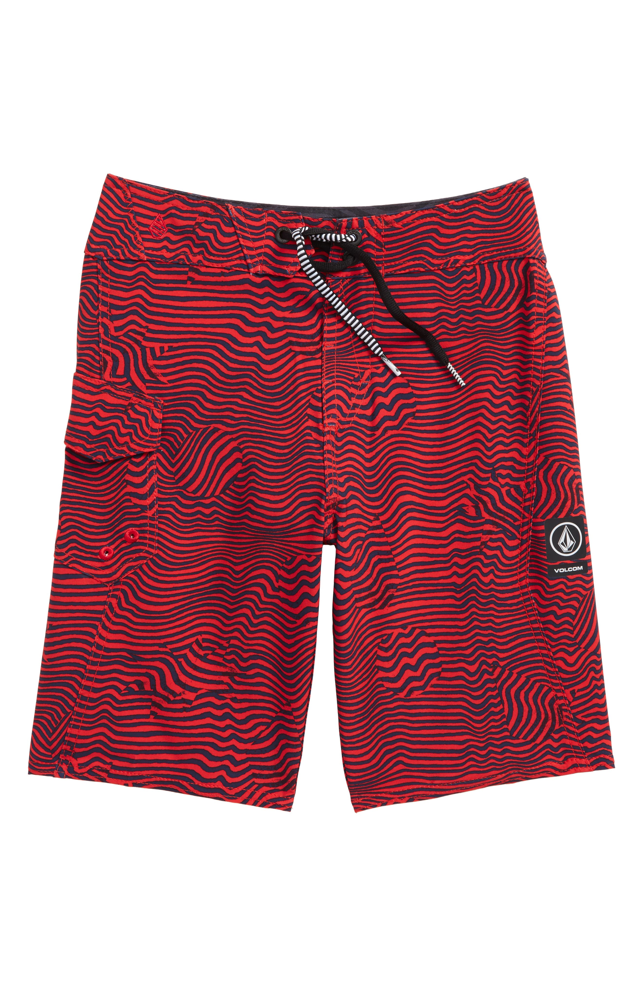 Magnetic Stone Board Shorts,                         Main,                         color, True Red