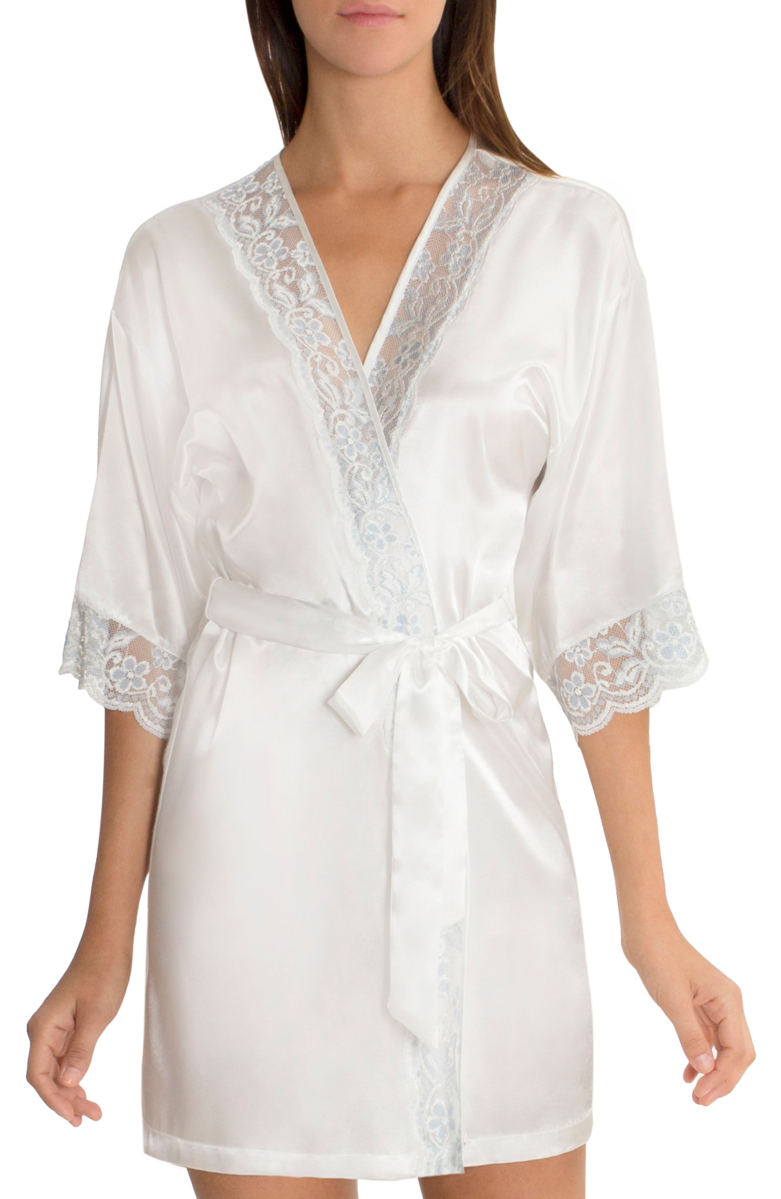 Satin Robe,                         Main,                         color, Ivory