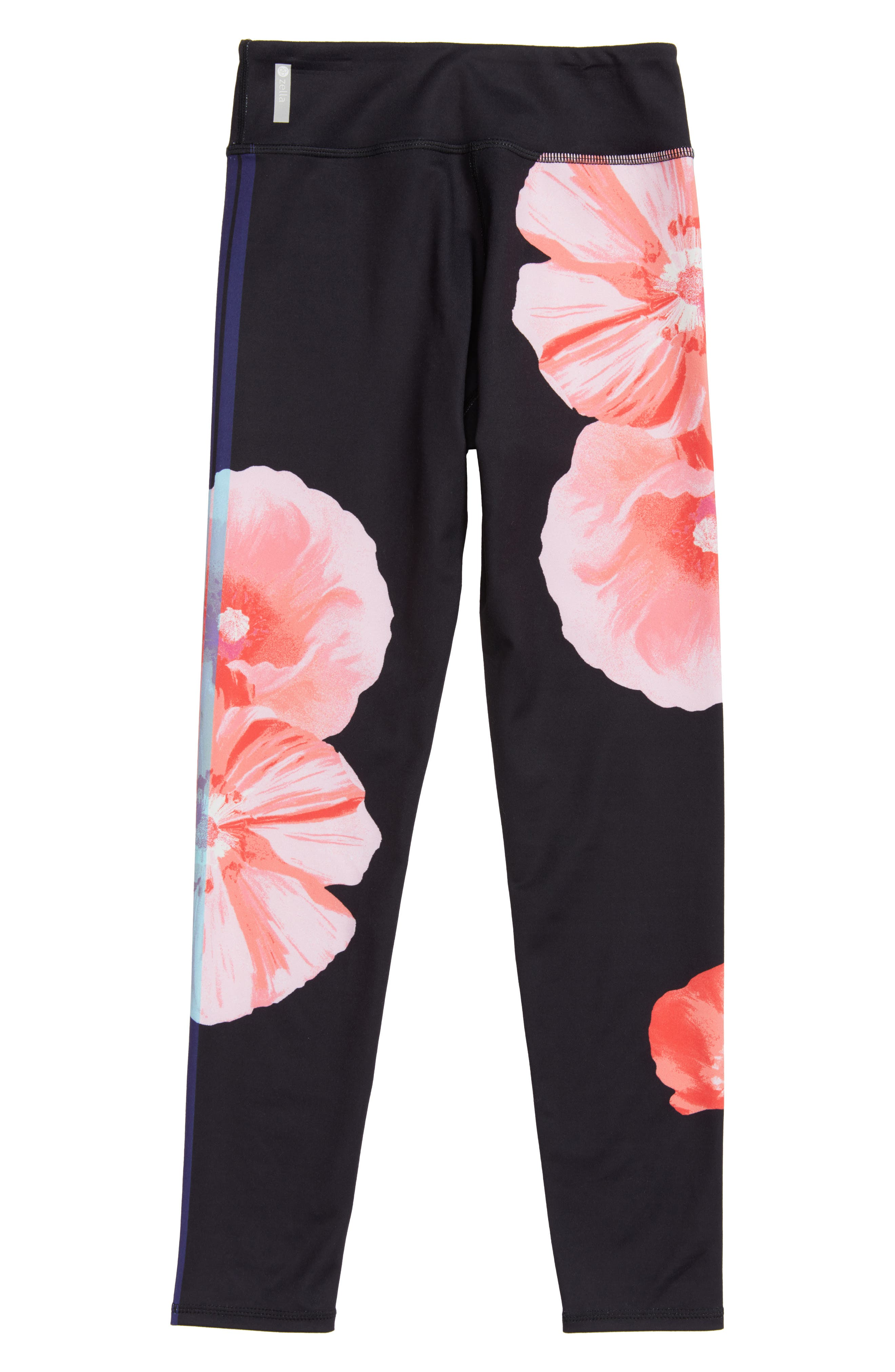 Print Leggings,                             Alternate thumbnail 3, color,                             Black Floral Stripe