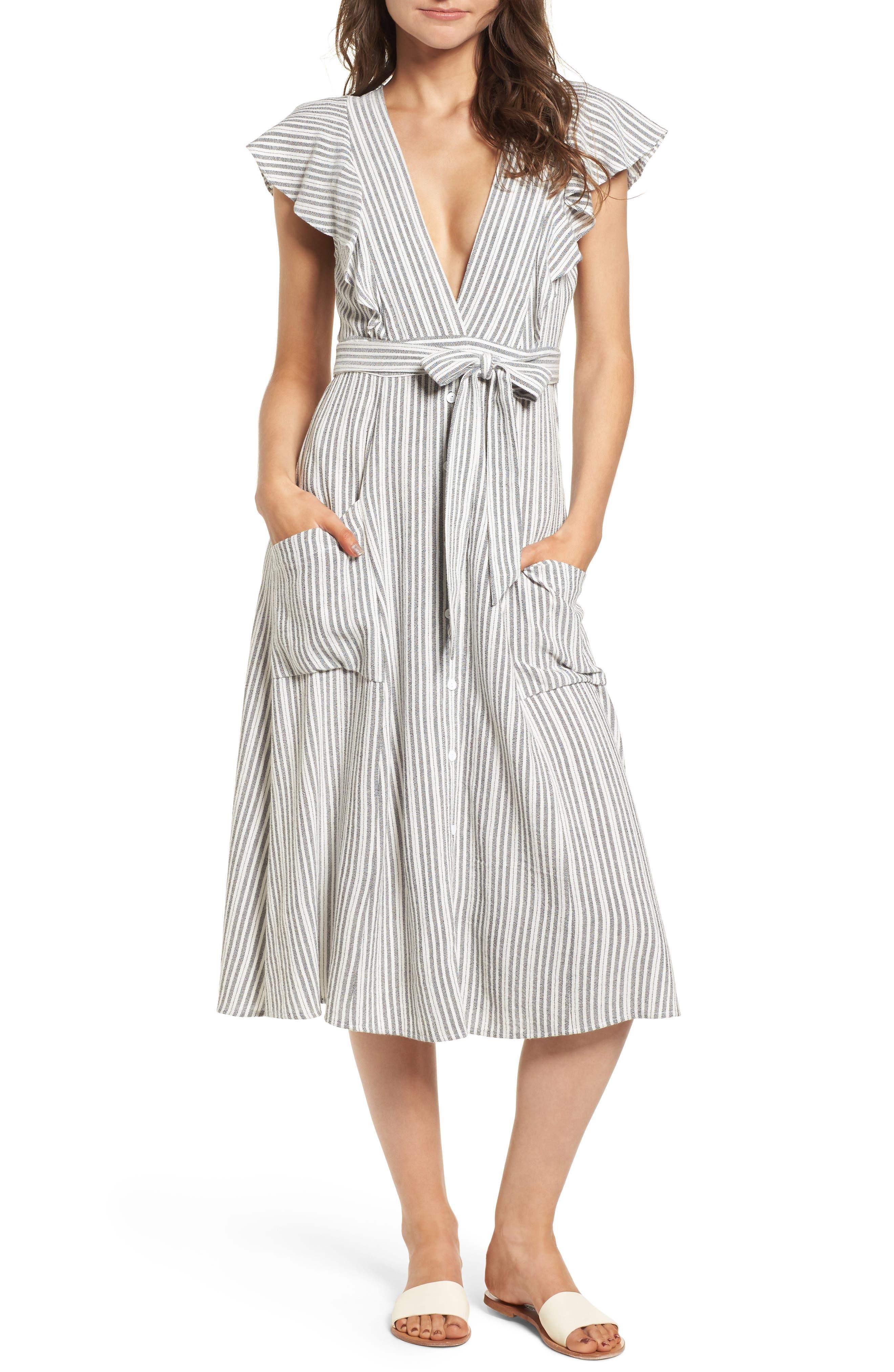 Lost + Wander Kika Tie Waist Midi Dress