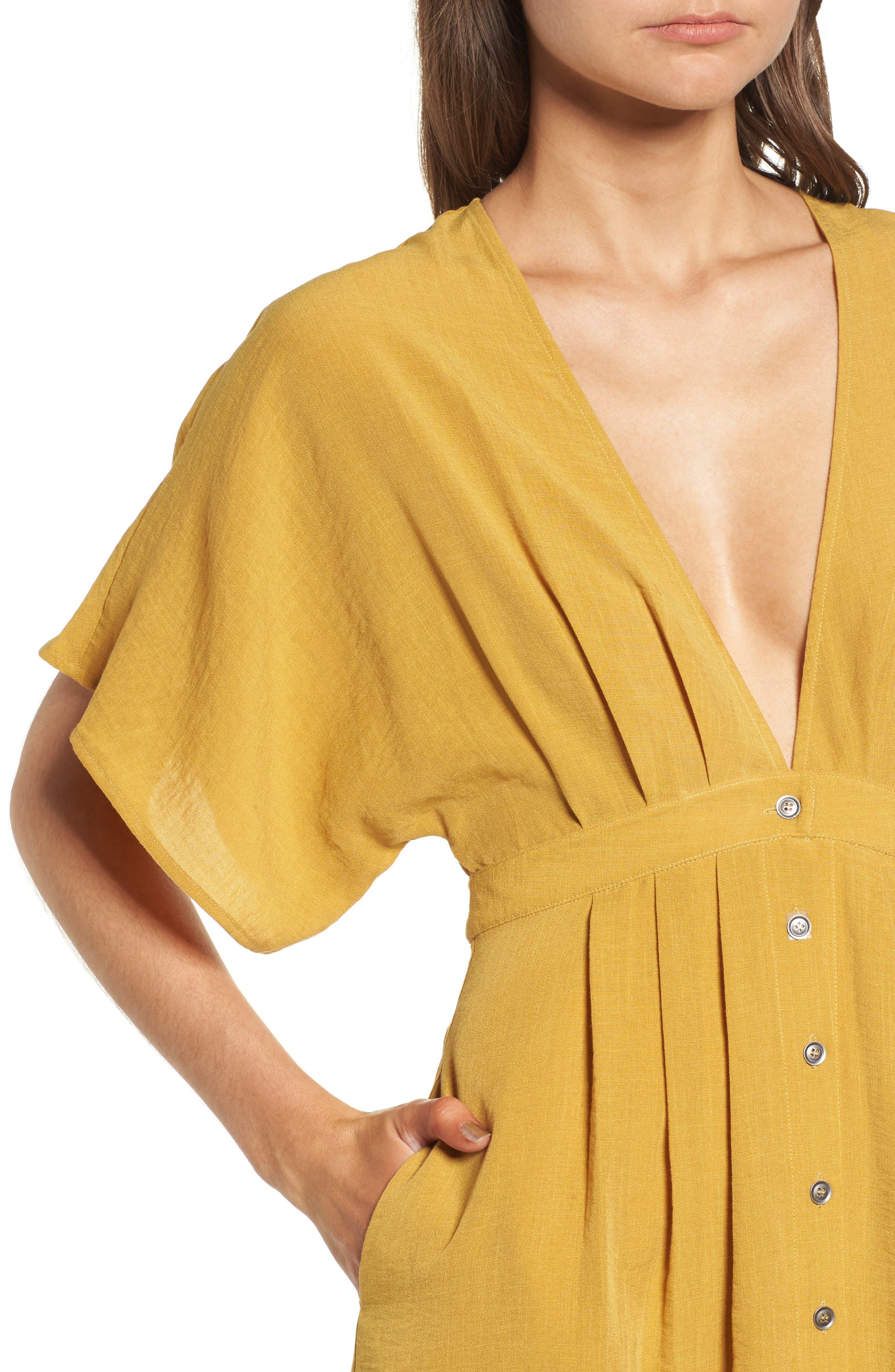 Poppy Button Front Midi Dress,                             Alternate thumbnail 5, color,                             Mustard
