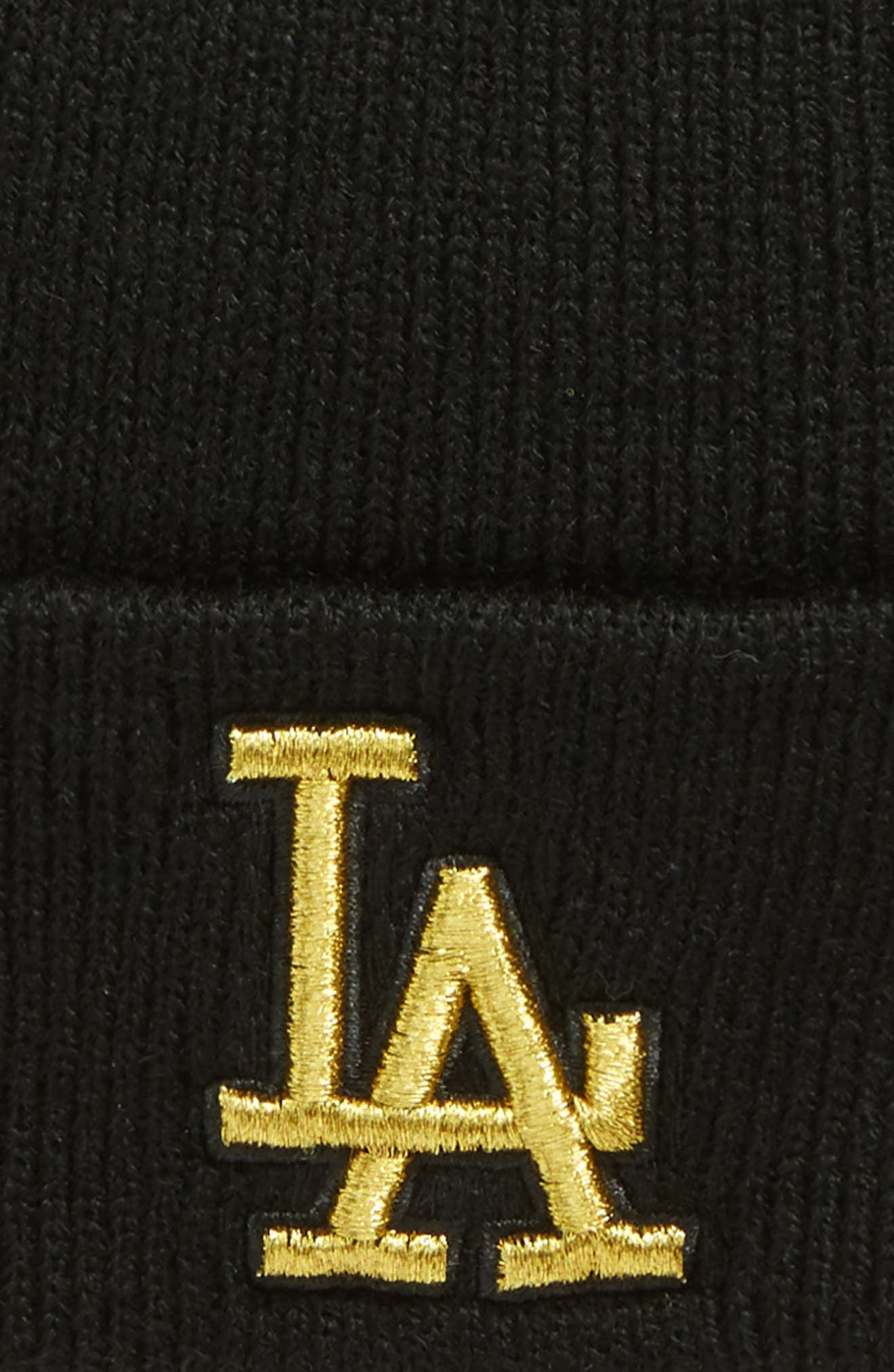 Los Angeles Dodgers Metallic Beanie,                             Alternate thumbnail 2, color,                             Black