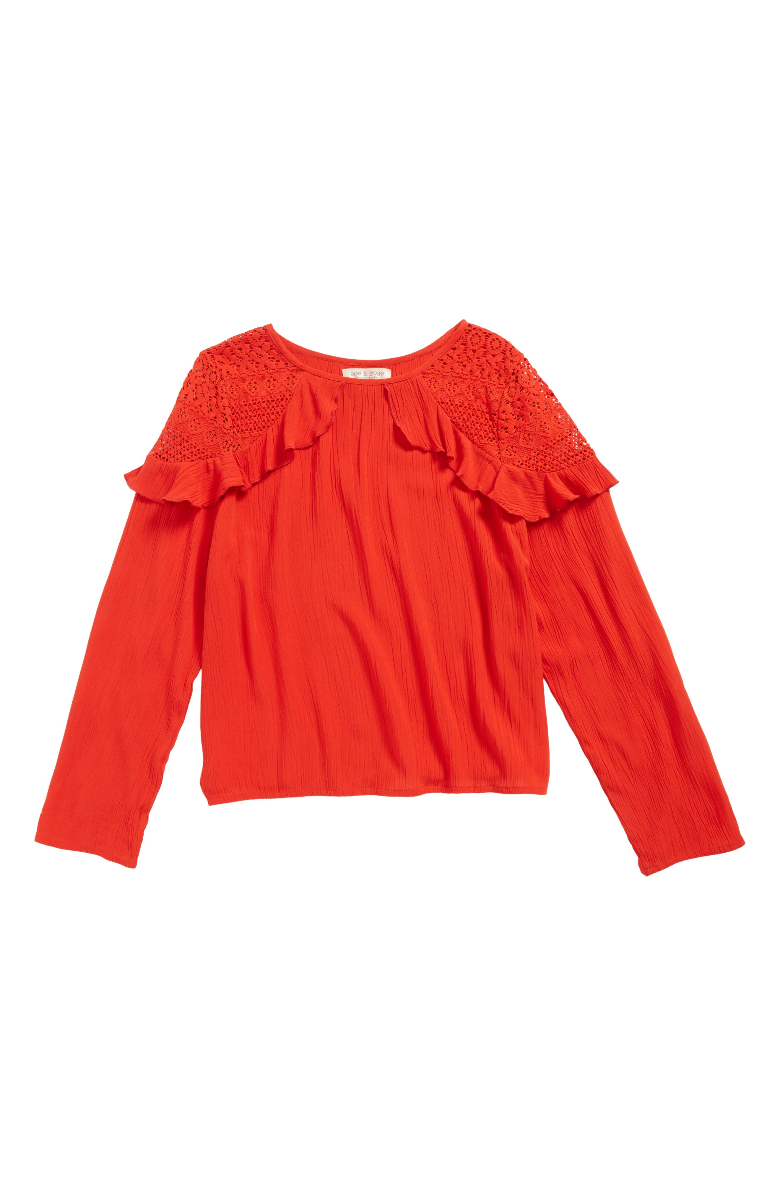 Ruffle Top,                         Main,                         color, Red