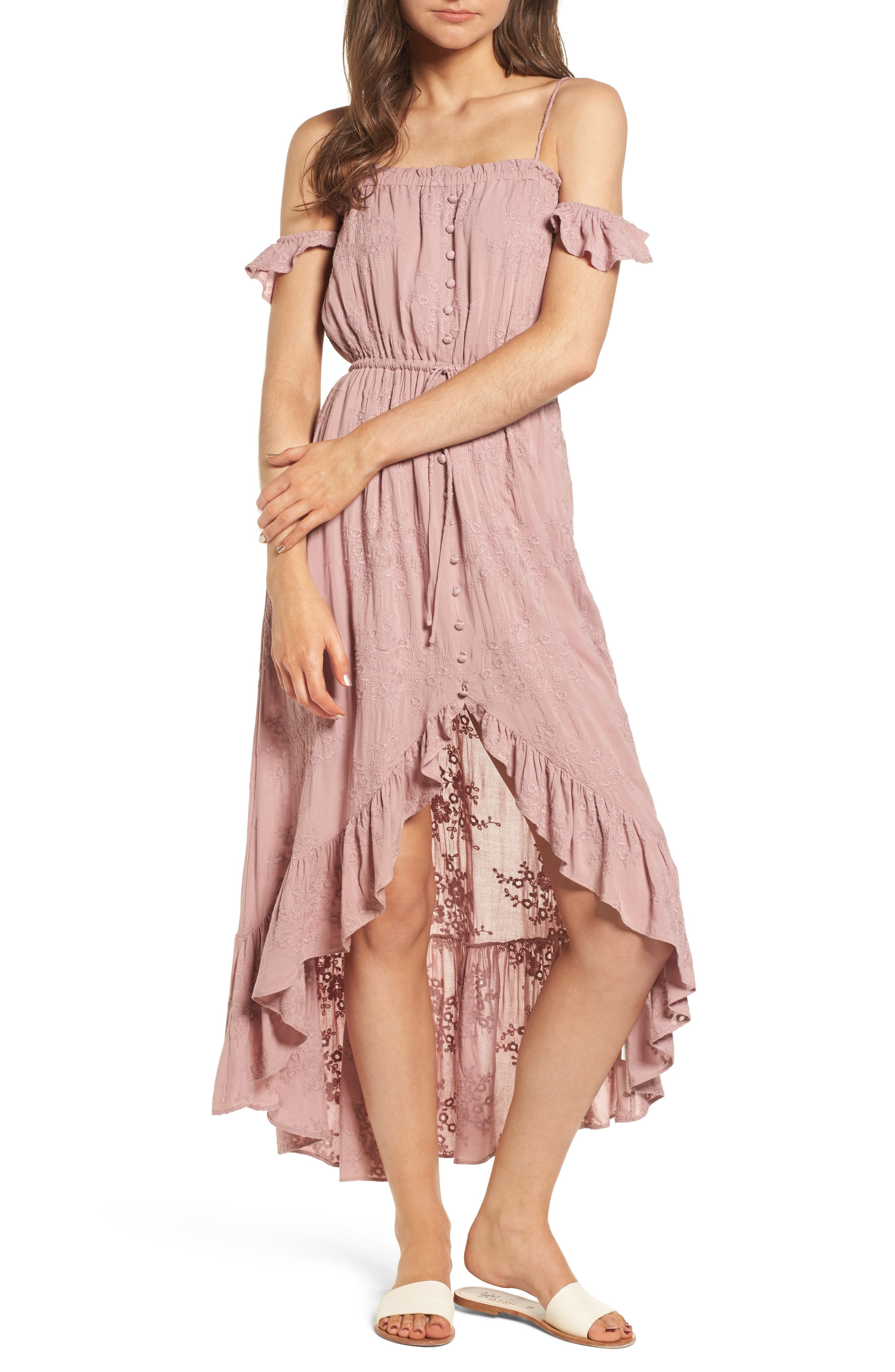Rose Cold Shoulder High/Low Dress,                             Main thumbnail 1, color,                             Rosy Pink