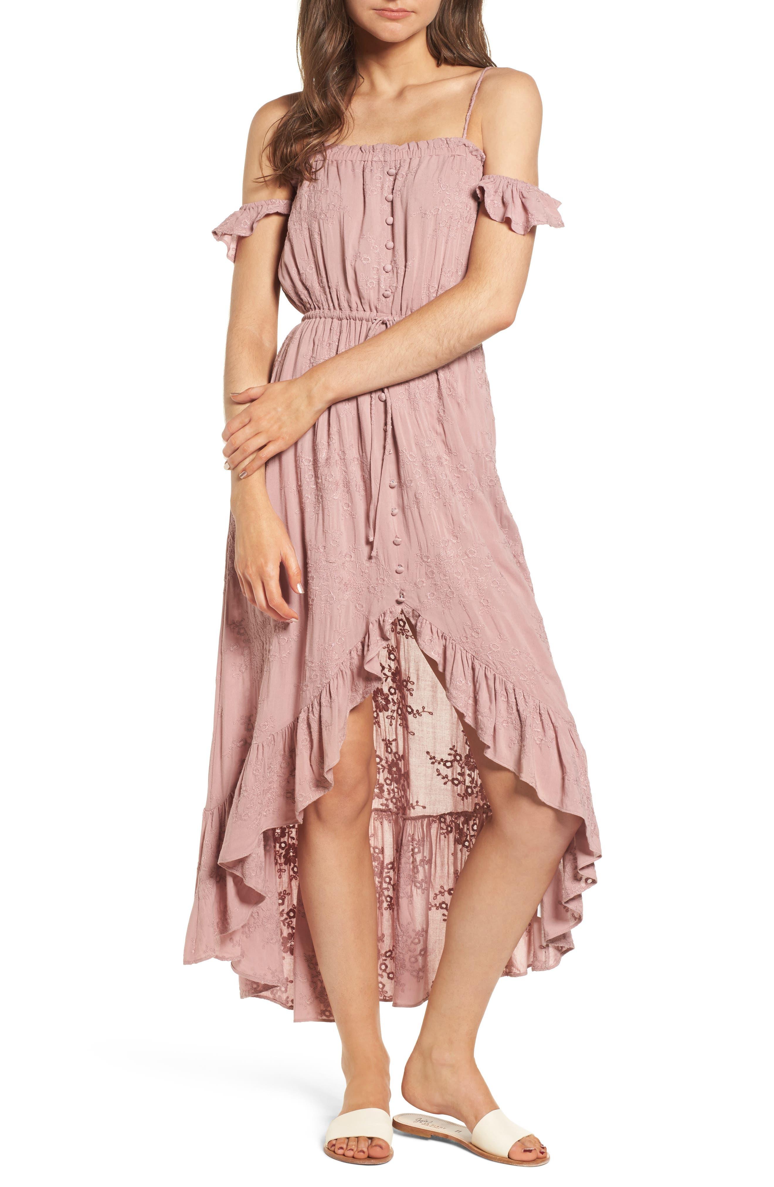 Rose Cold Shoulder High/Low Dress,                         Main,                         color, Rosy Pink