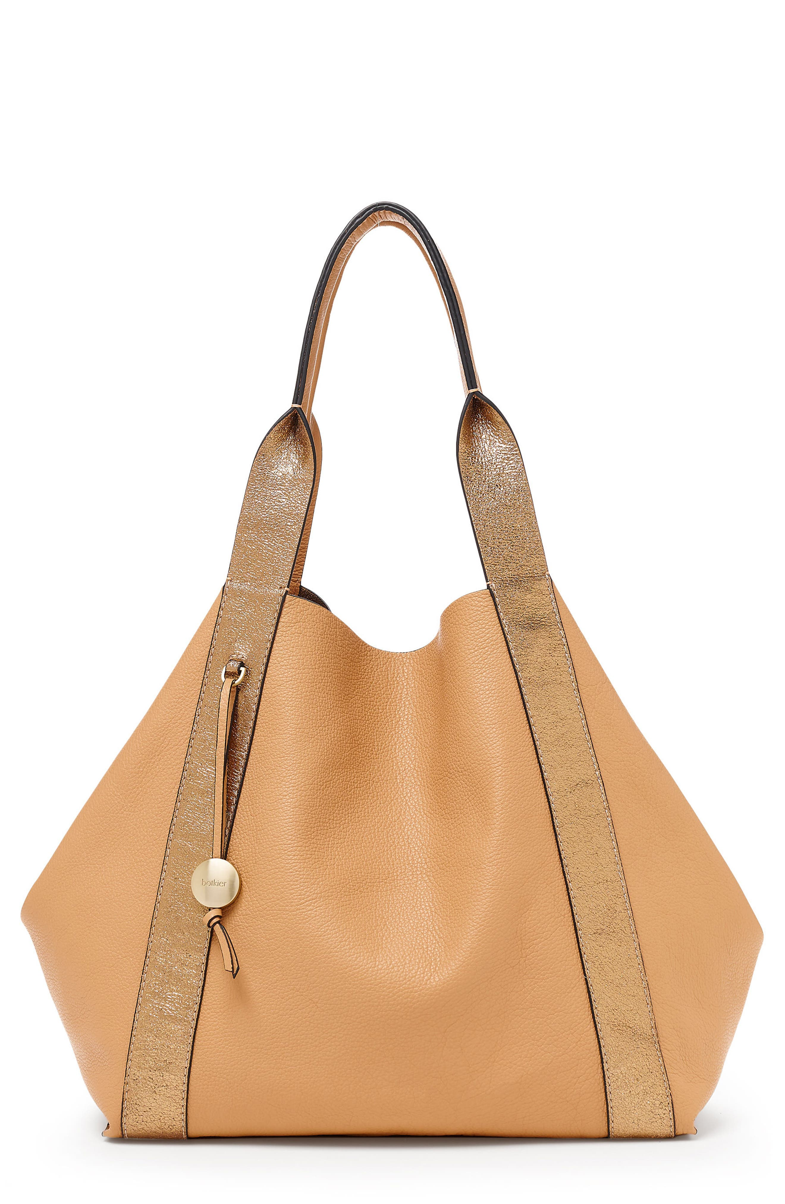 BAILY REVERSIBLE CALFSKIN LEATHER TOTE - BROWN