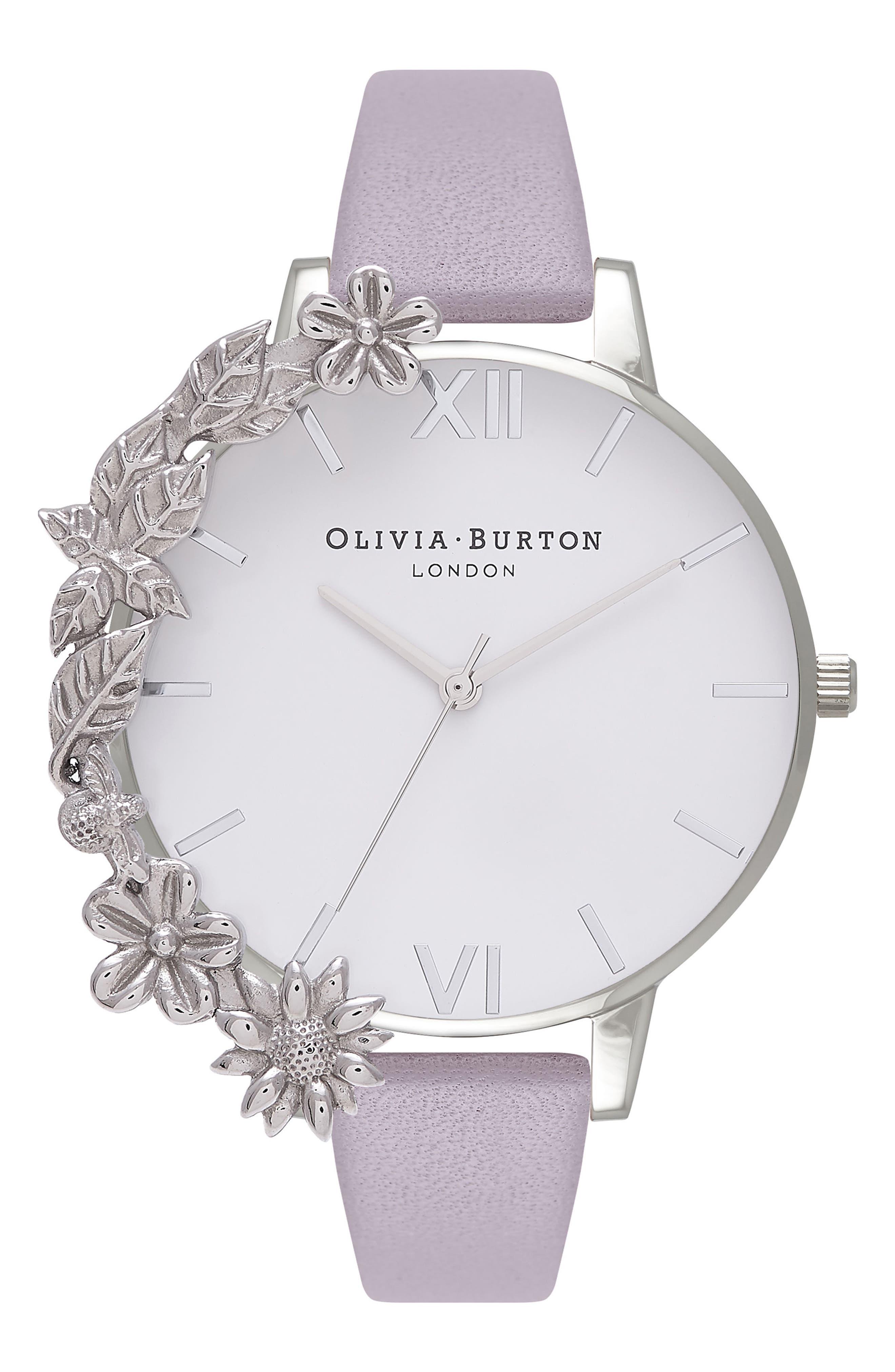Main Image - Olivia Burton Case Cuff Leather Strap Watch, 38mm
