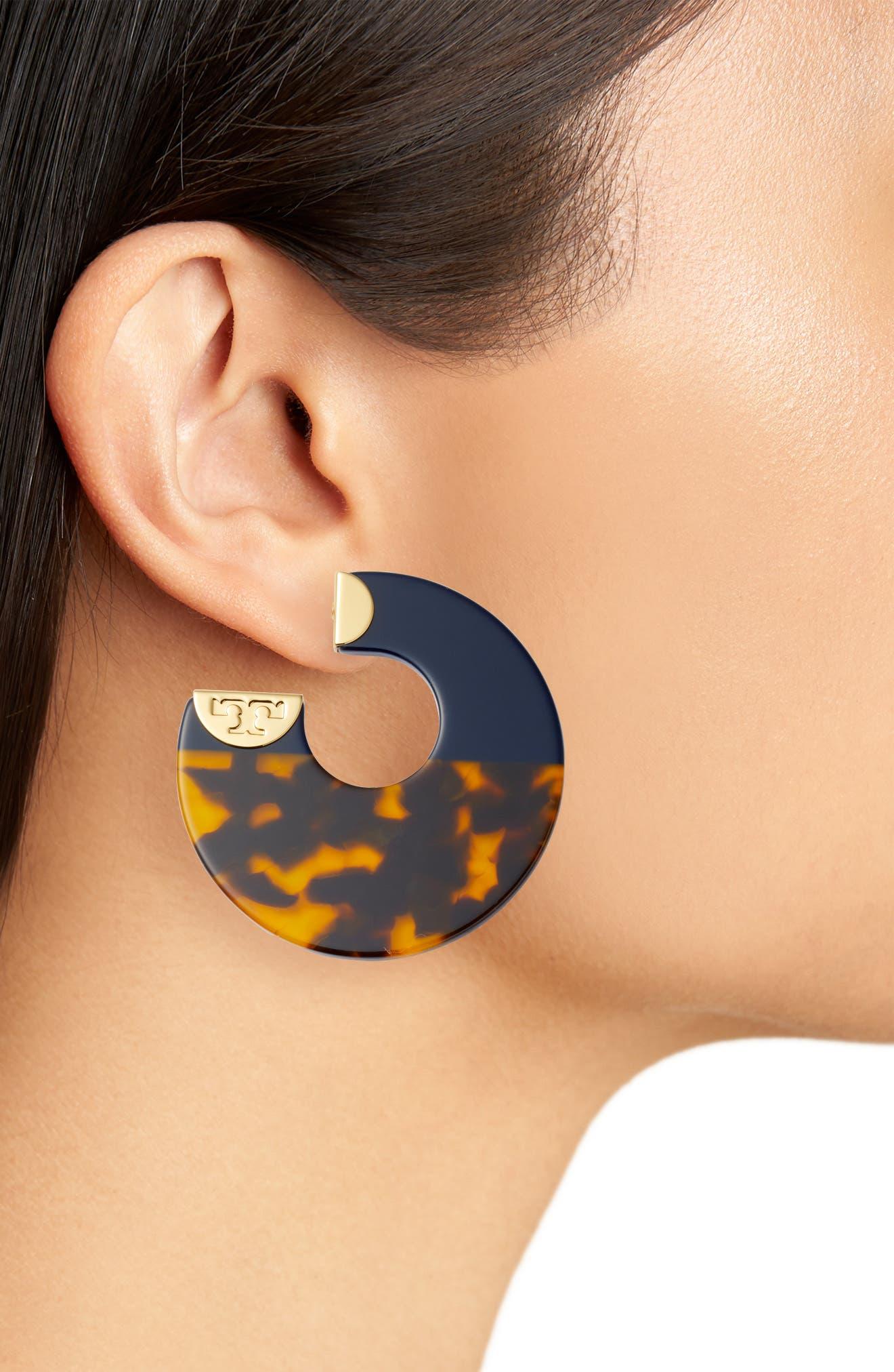 Alternate Image 2  - Tory Burch Resin Colorblock Hoop Earrings
