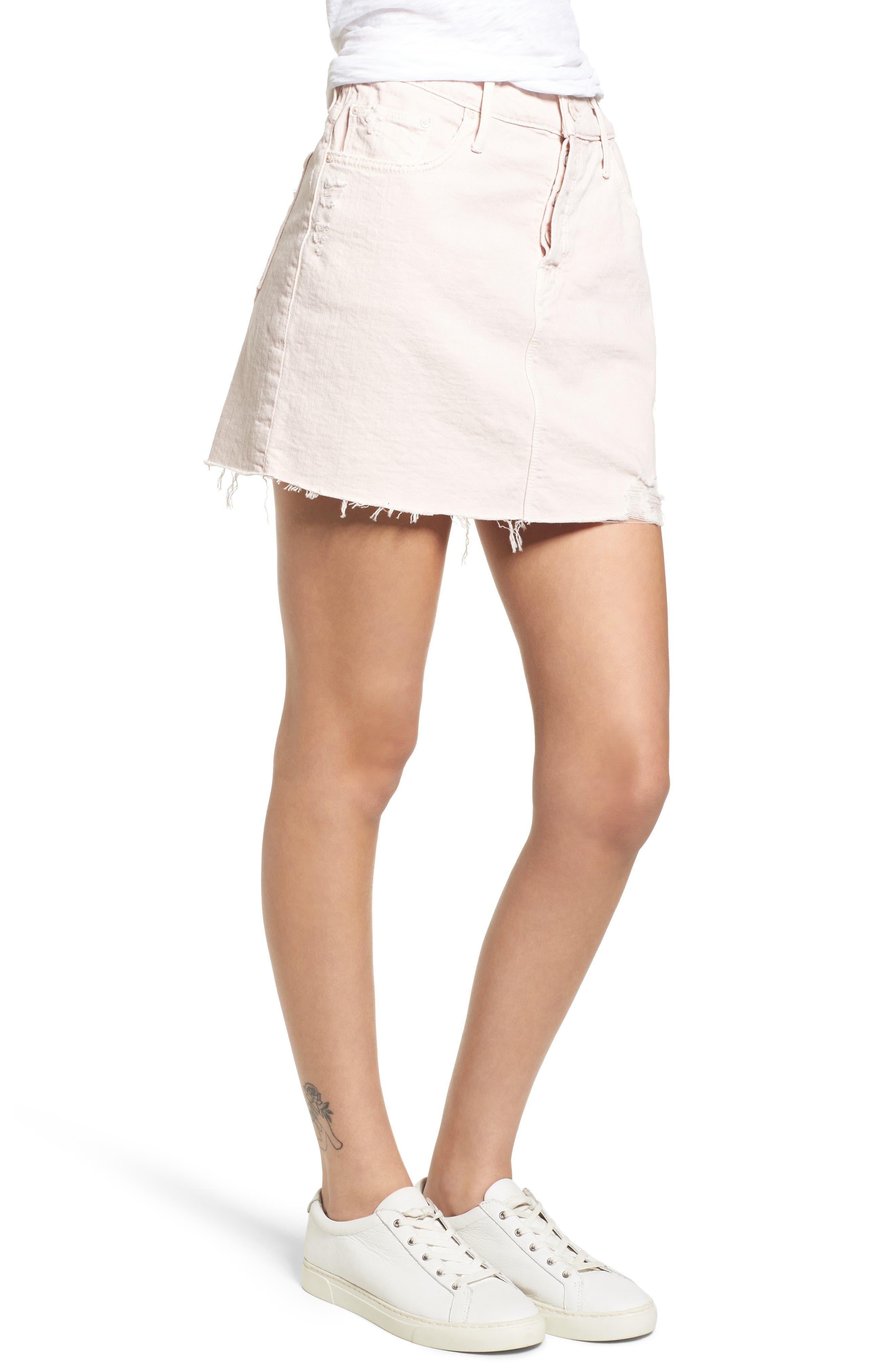 The Vagabond Cutoff Denim Miniskirt,                             Alternate thumbnail 2, color,                             Soft Pink