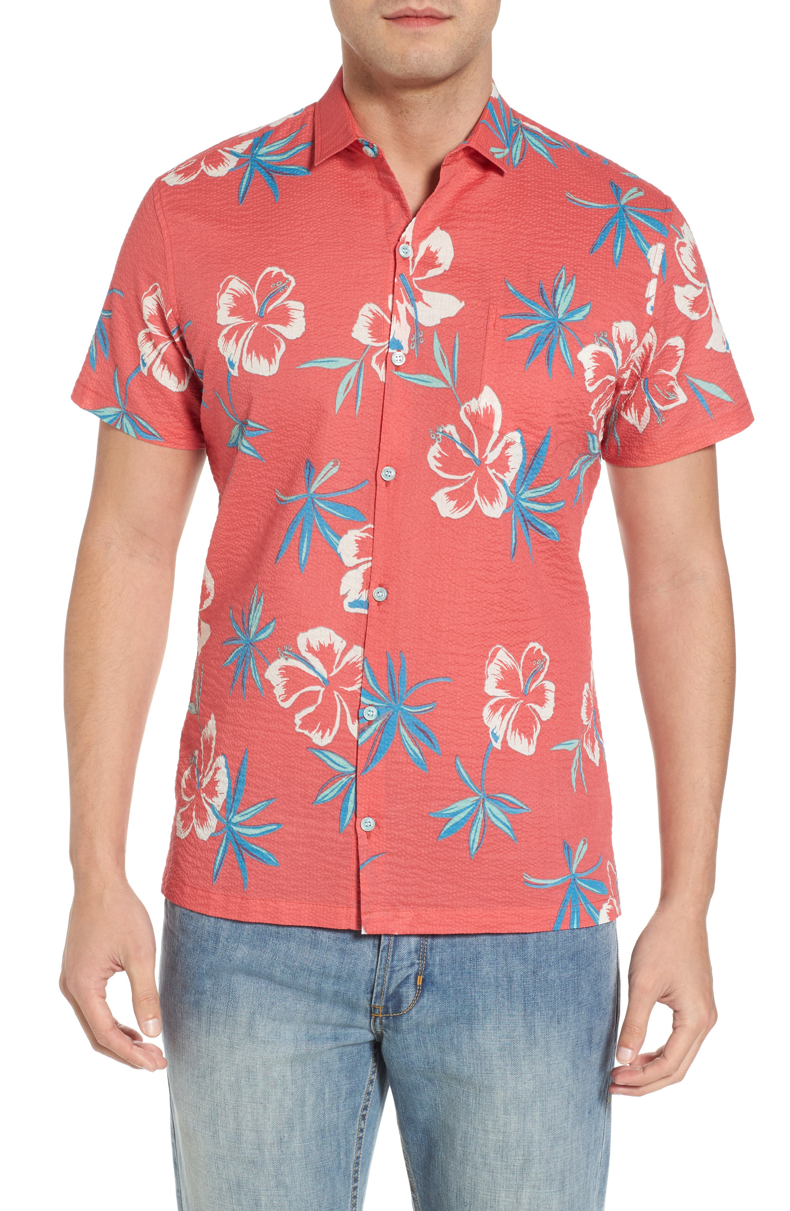 So Fresh Trim Fit Cotton Lawn Sport Shirt,                         Main,                         color, Guava