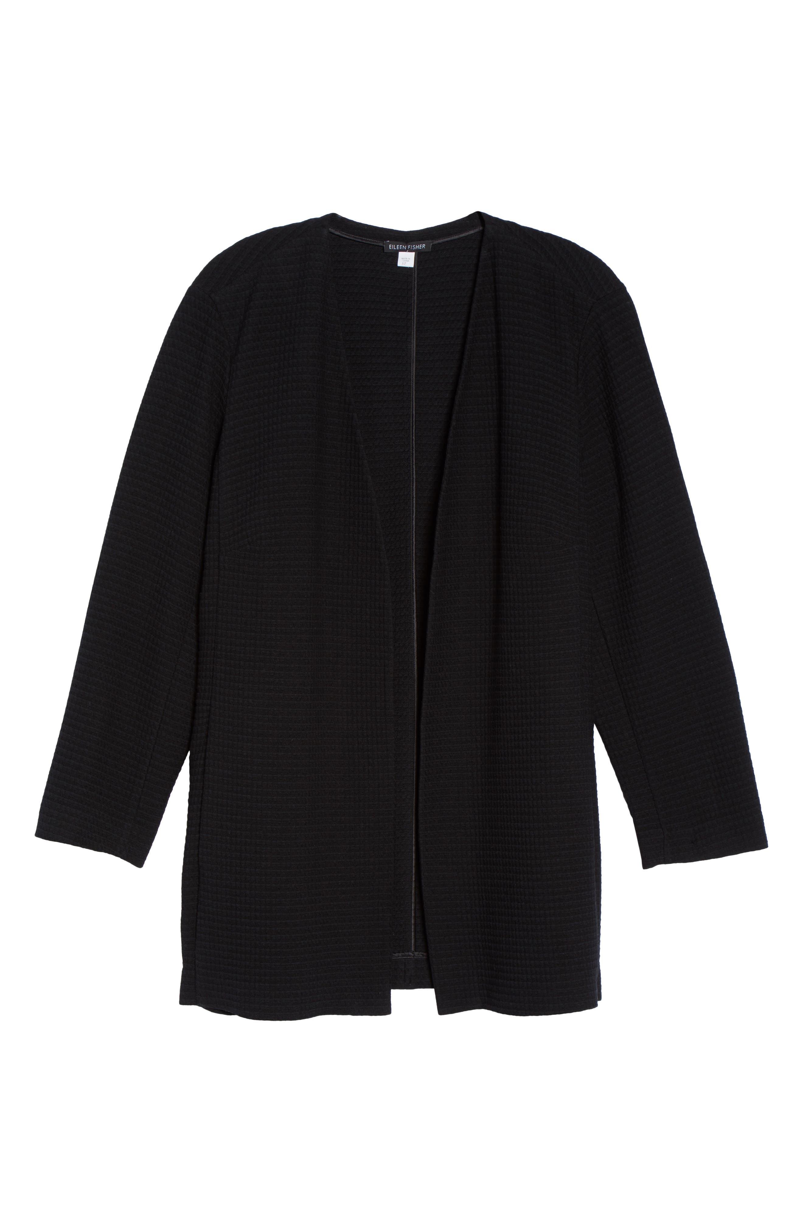 Long Jacquard Jacket,                             Alternate thumbnail 6, color,                             Black