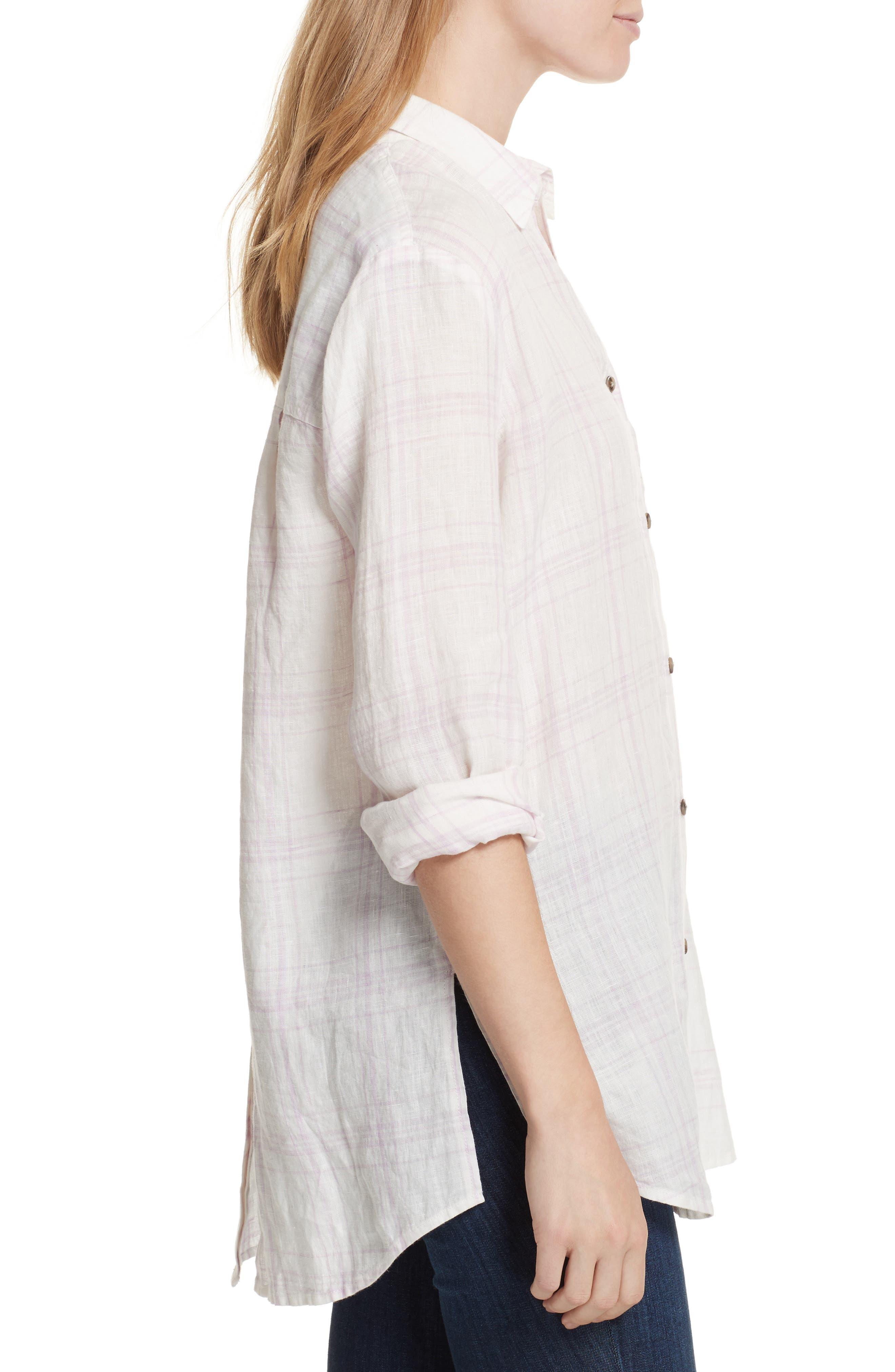 No Limits Plaid Linen Shirt,                             Alternate thumbnail 3, color,                             Lilac