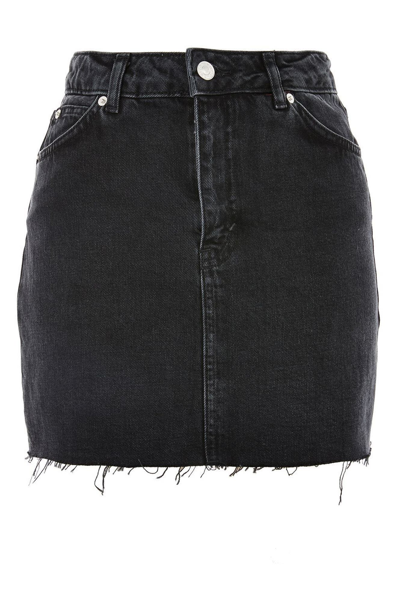 Frayed Hem Denim Miniskirt,                             Alternate thumbnail 3, color,                             Washed Black