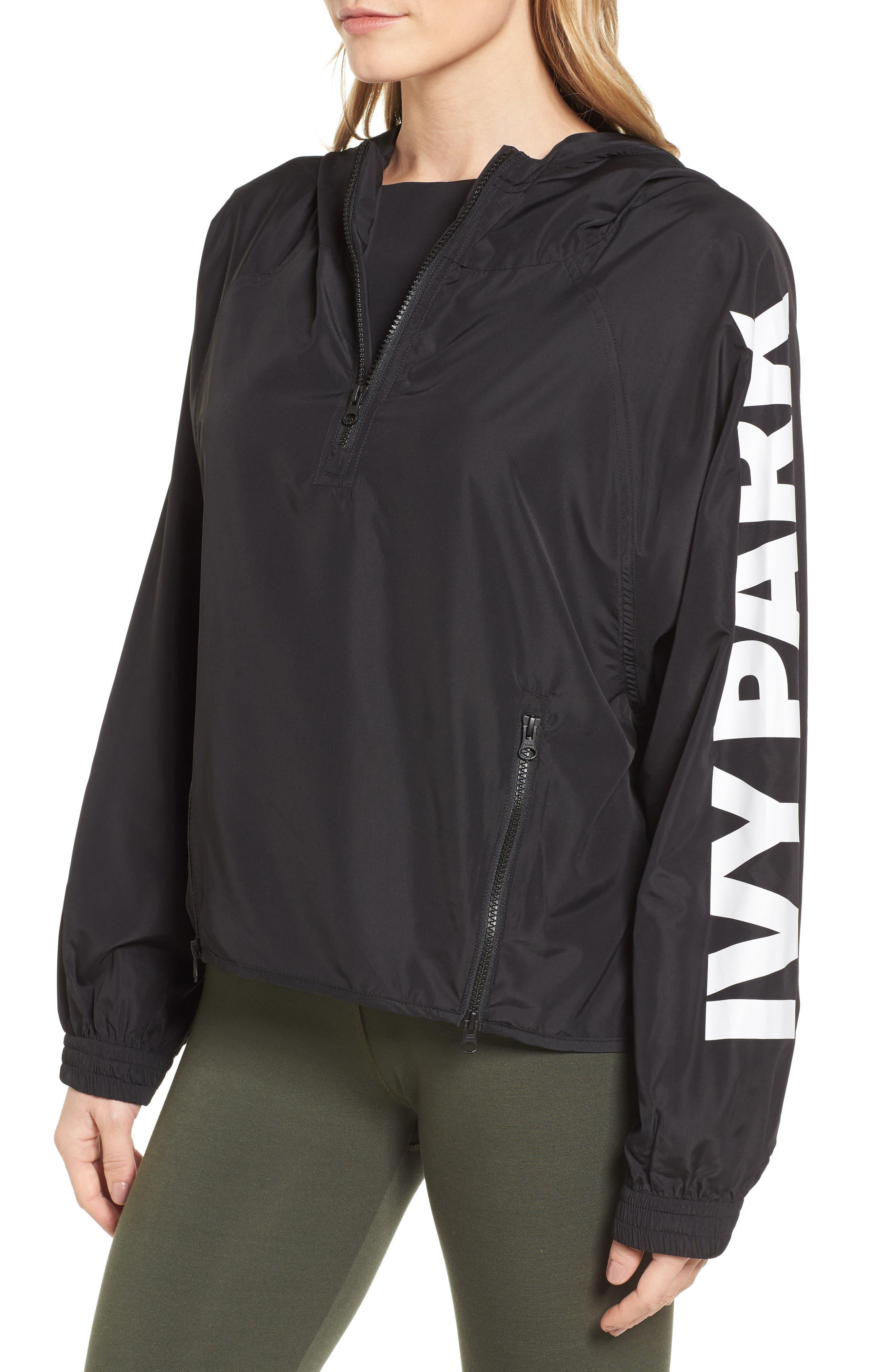 Quarter Zip Hooded Jacket,                             Alternate thumbnail 3, color,                             Black
