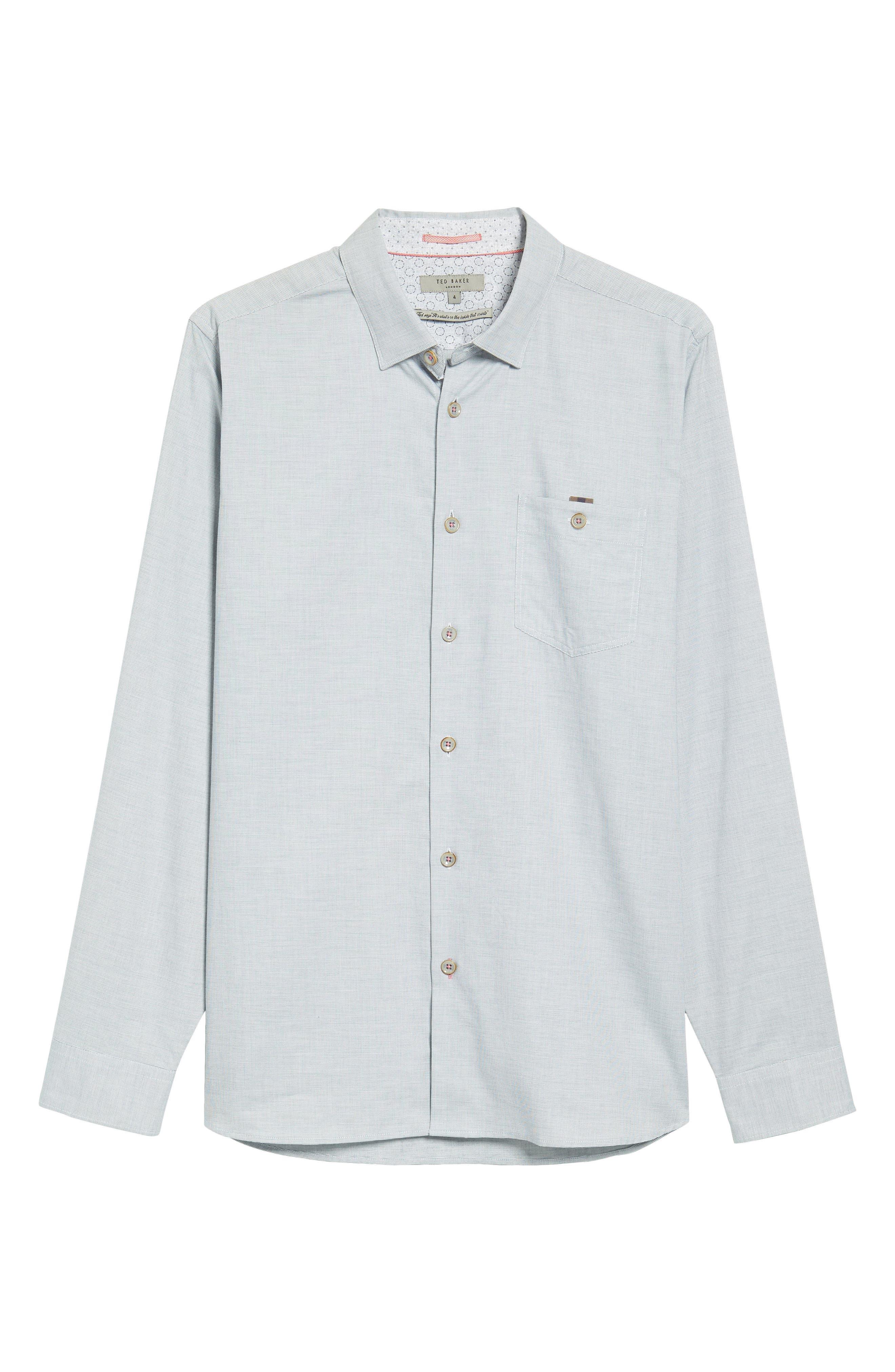 Slim Fit Textured Sport Shirt,                             Alternate thumbnail 6, color,                             Grey