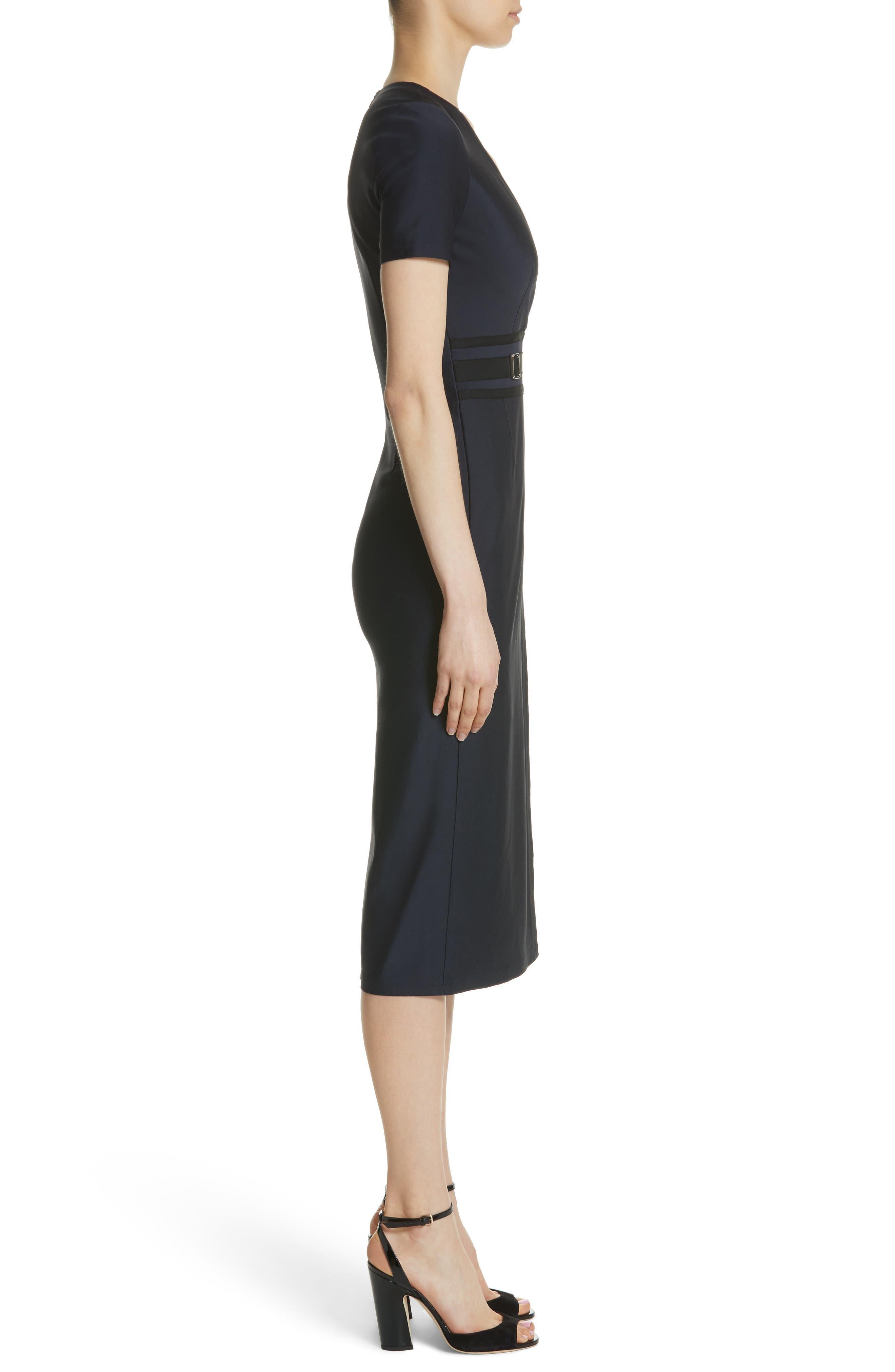 Belt Waist Sheath Dress,                             Alternate thumbnail 3, color,                             Navy Blue