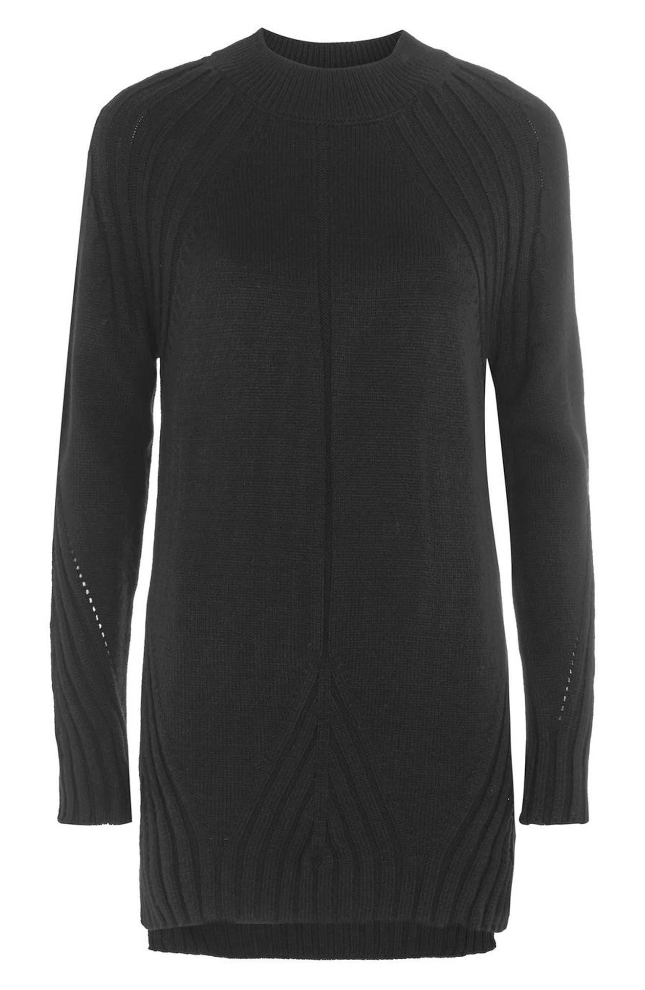 Knit Detail Sweater Dress,                         Main,                         color, Black