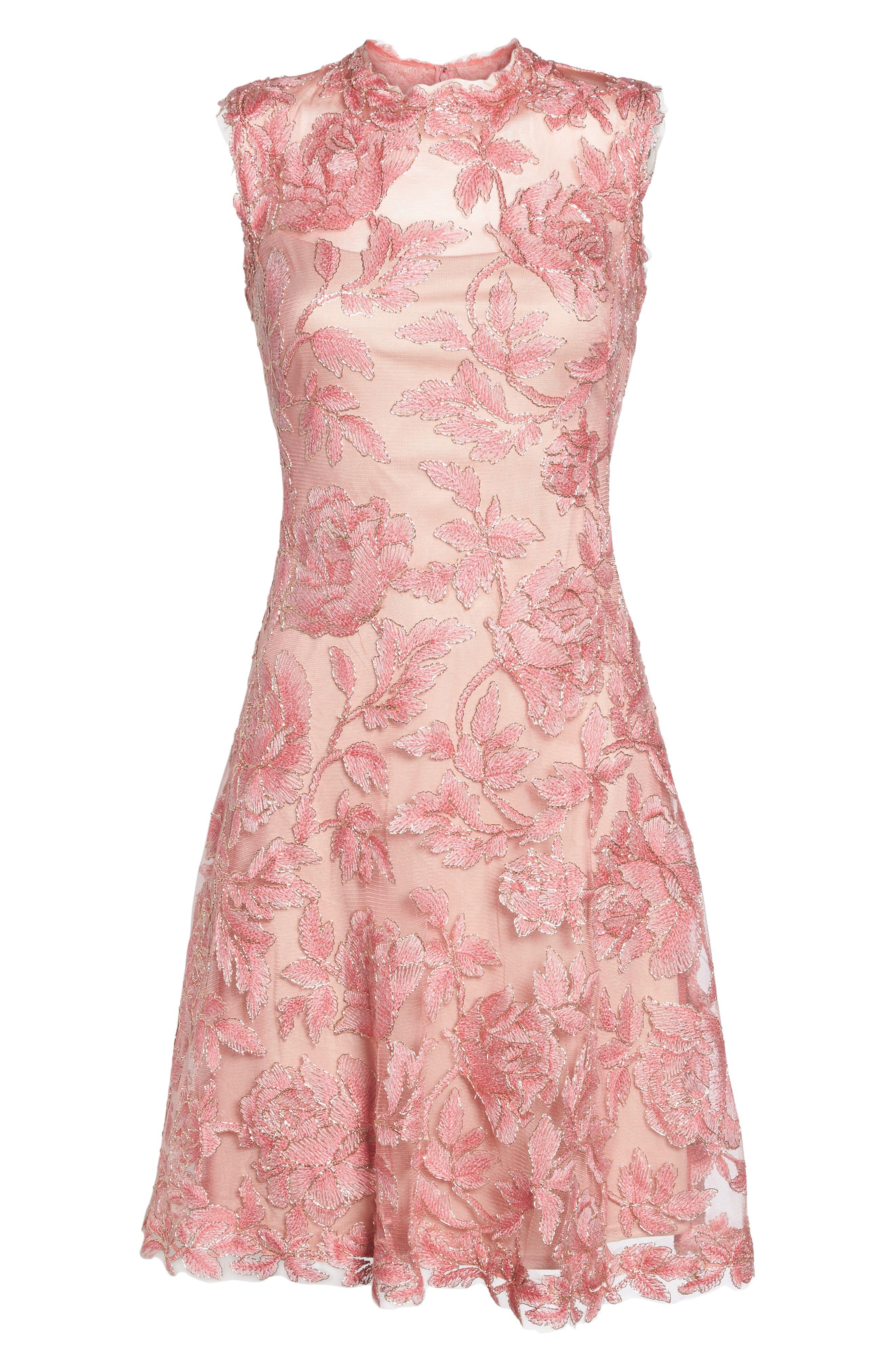 Alternate Image 6  - Tadashi Shoji Noelle Floral Fit & Flare Dress (Regular & Petite)