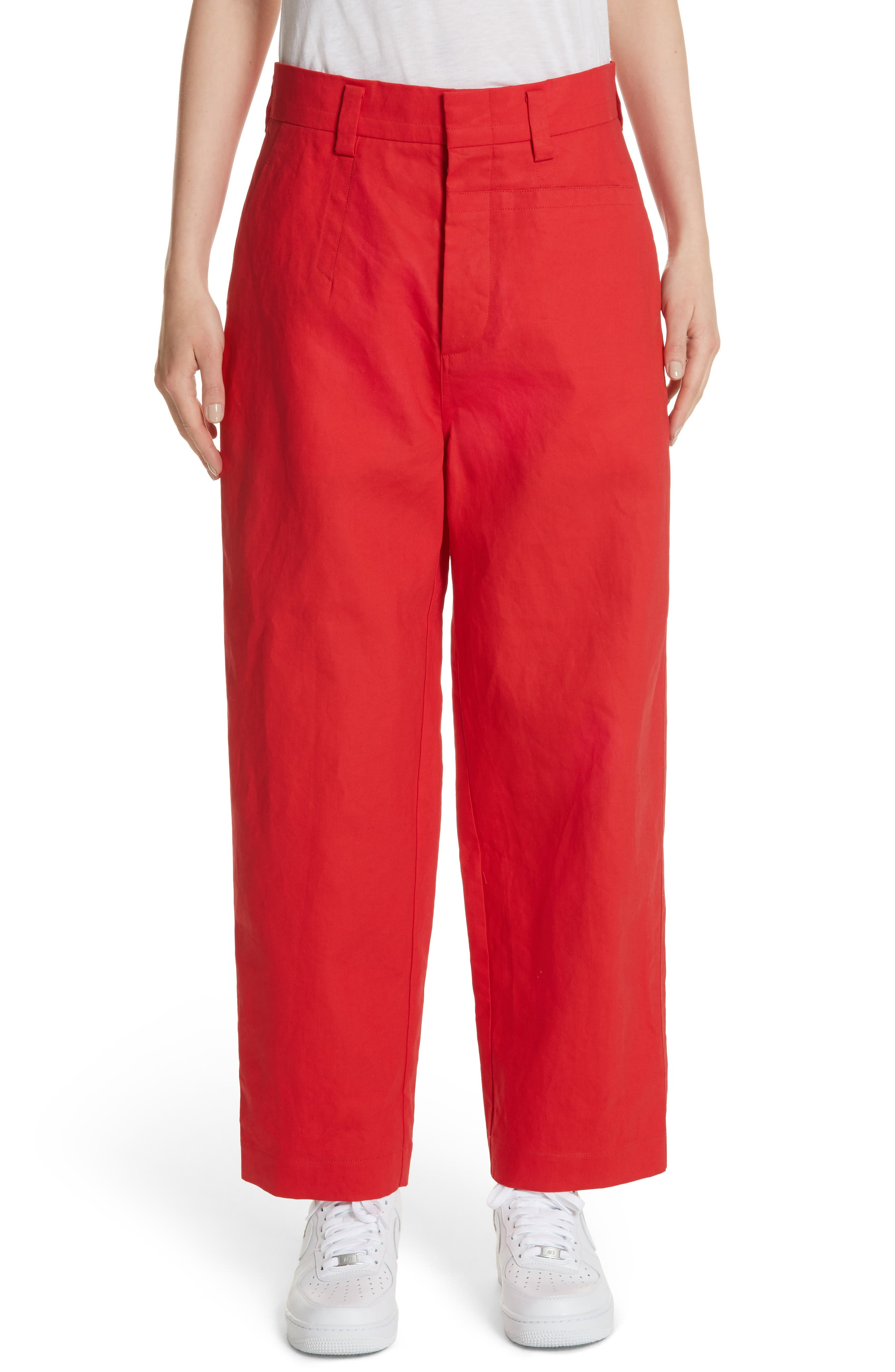 Straight Leg Pants,                         Main,                         color, Red Pepper