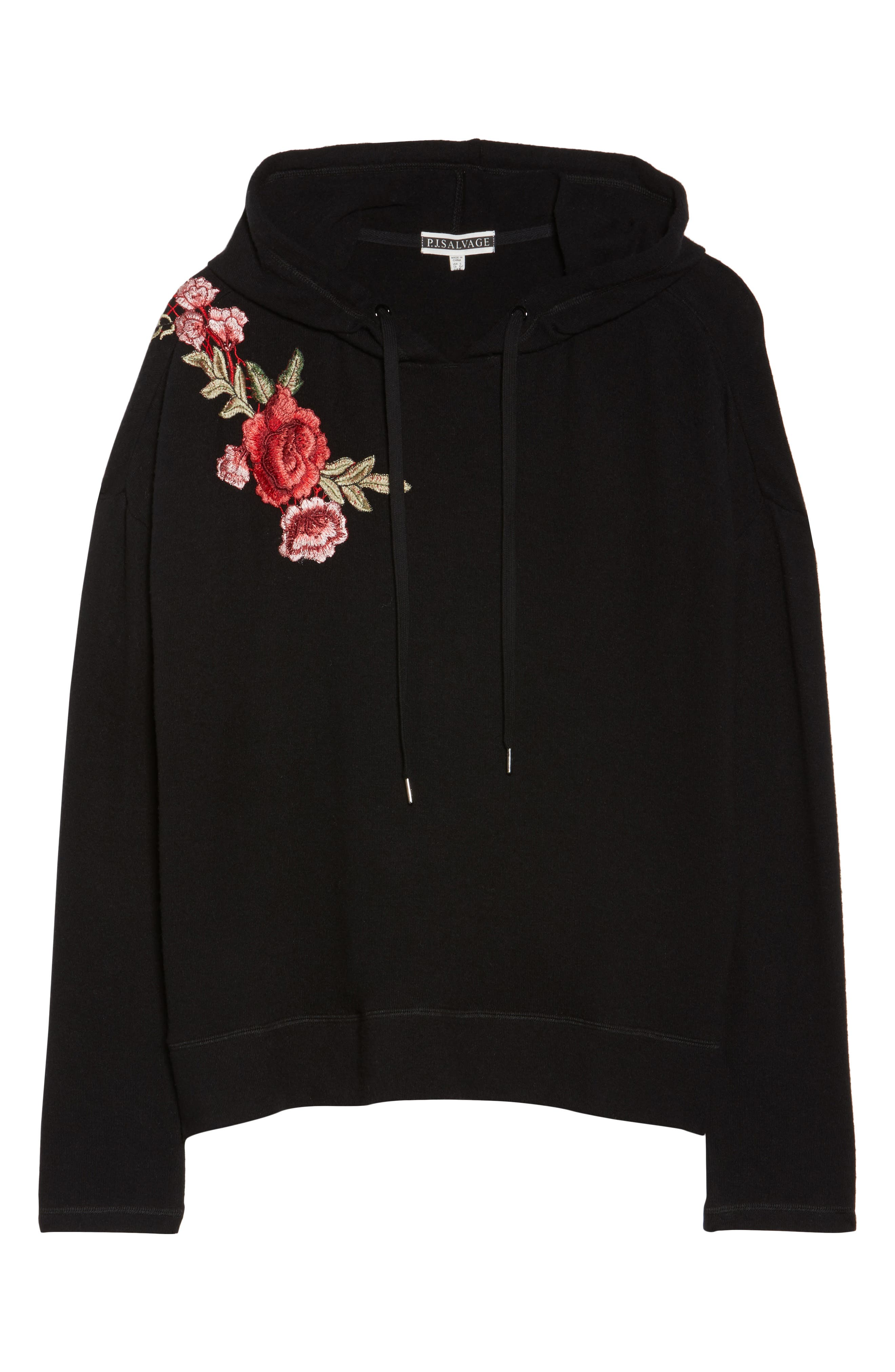 Embroidered Hoodie,                             Alternate thumbnail 4, color,                             Black