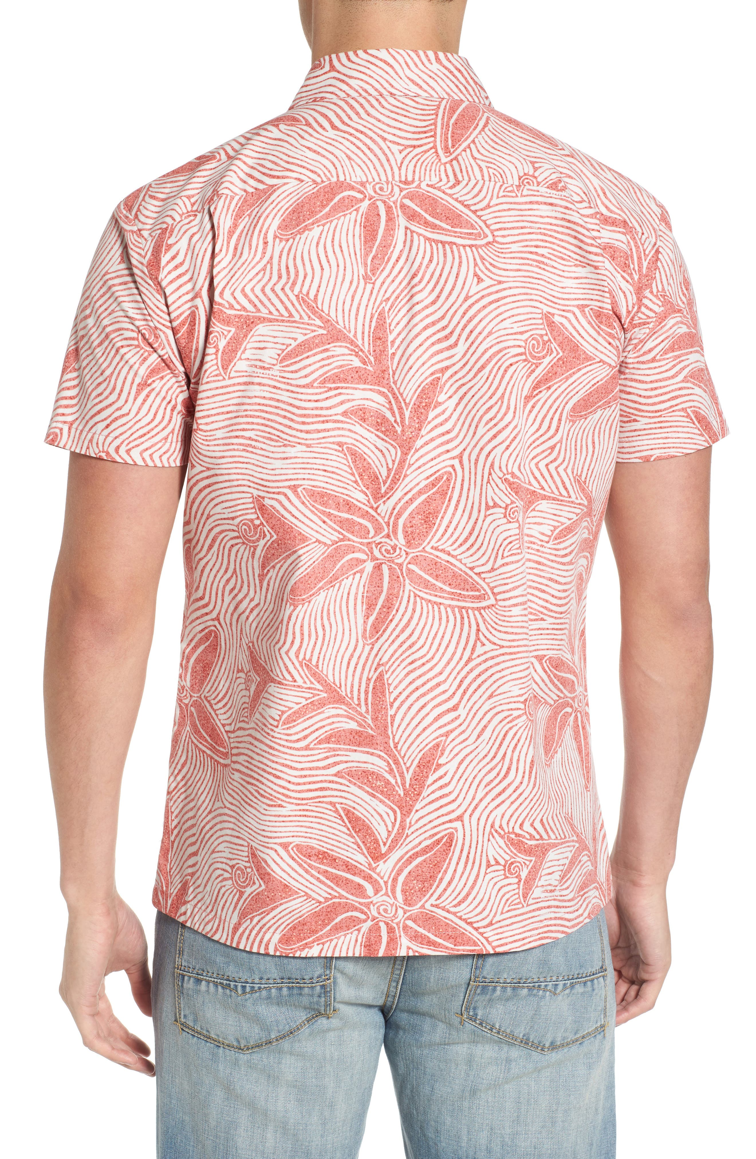Coral Star Trim Fit Print Sport Shirt,                             Alternate thumbnail 2, color,                             Red
