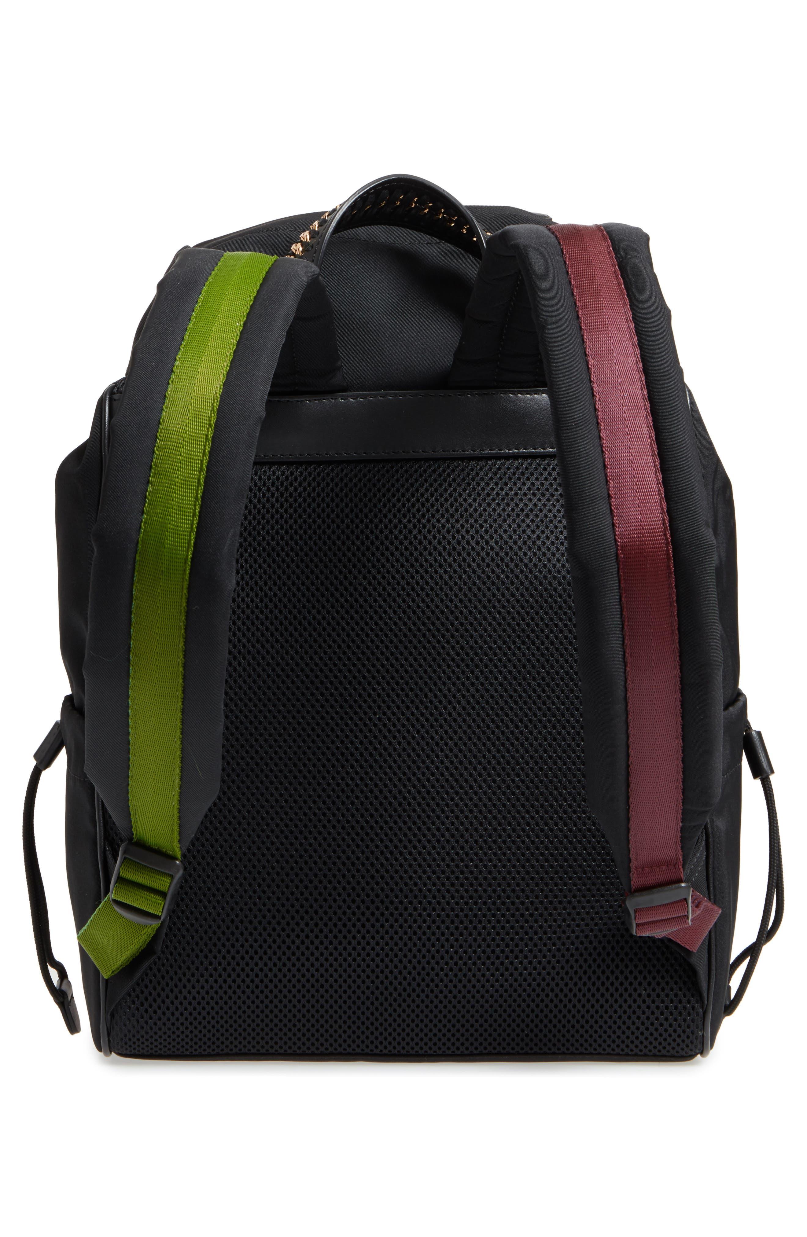 Small Eco Nylon Backpack,                             Alternate thumbnail 3, color,                             Black Multi