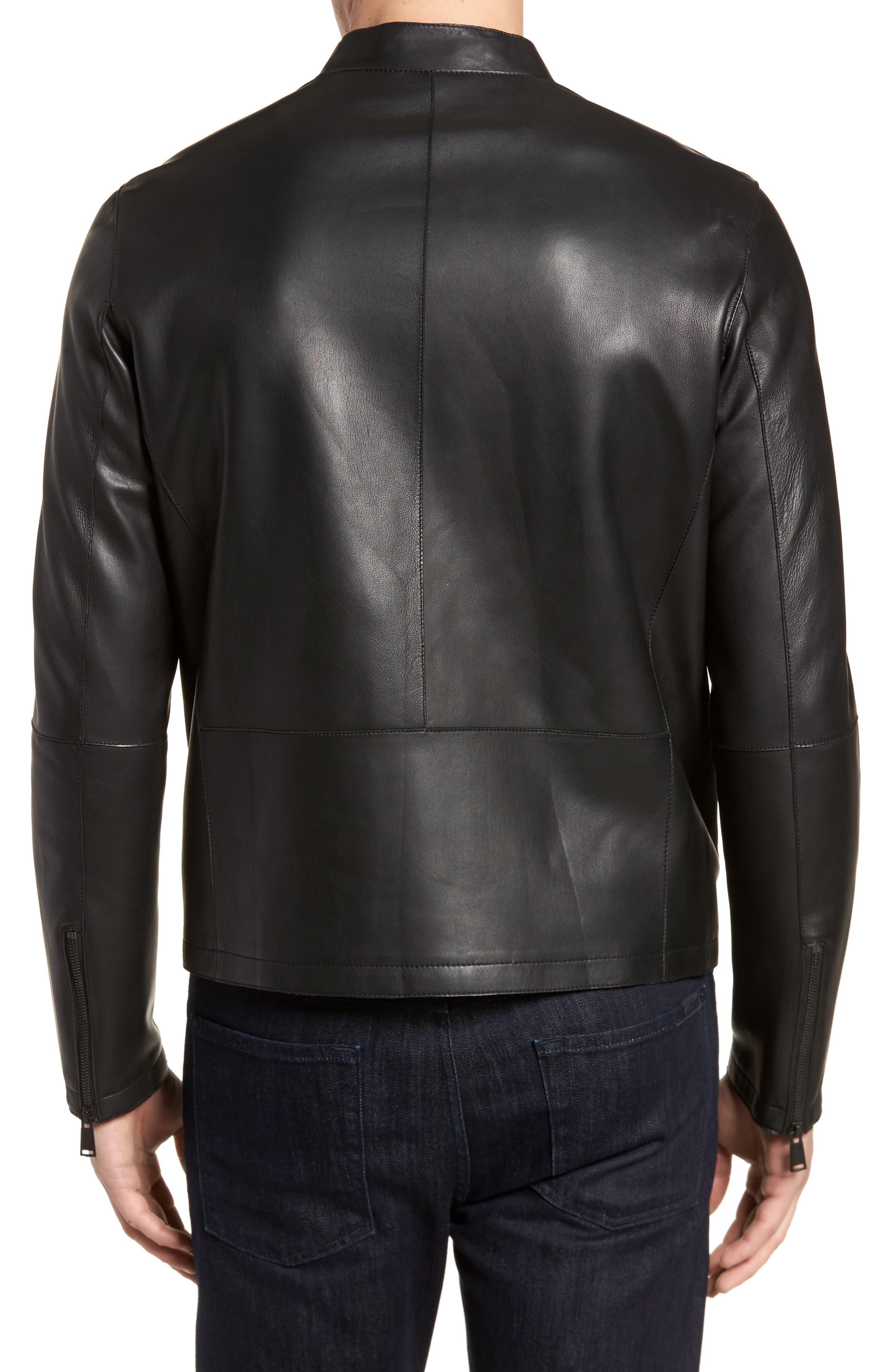 Bonded Leather Jacket,                             Alternate thumbnail 2, color,                             Black