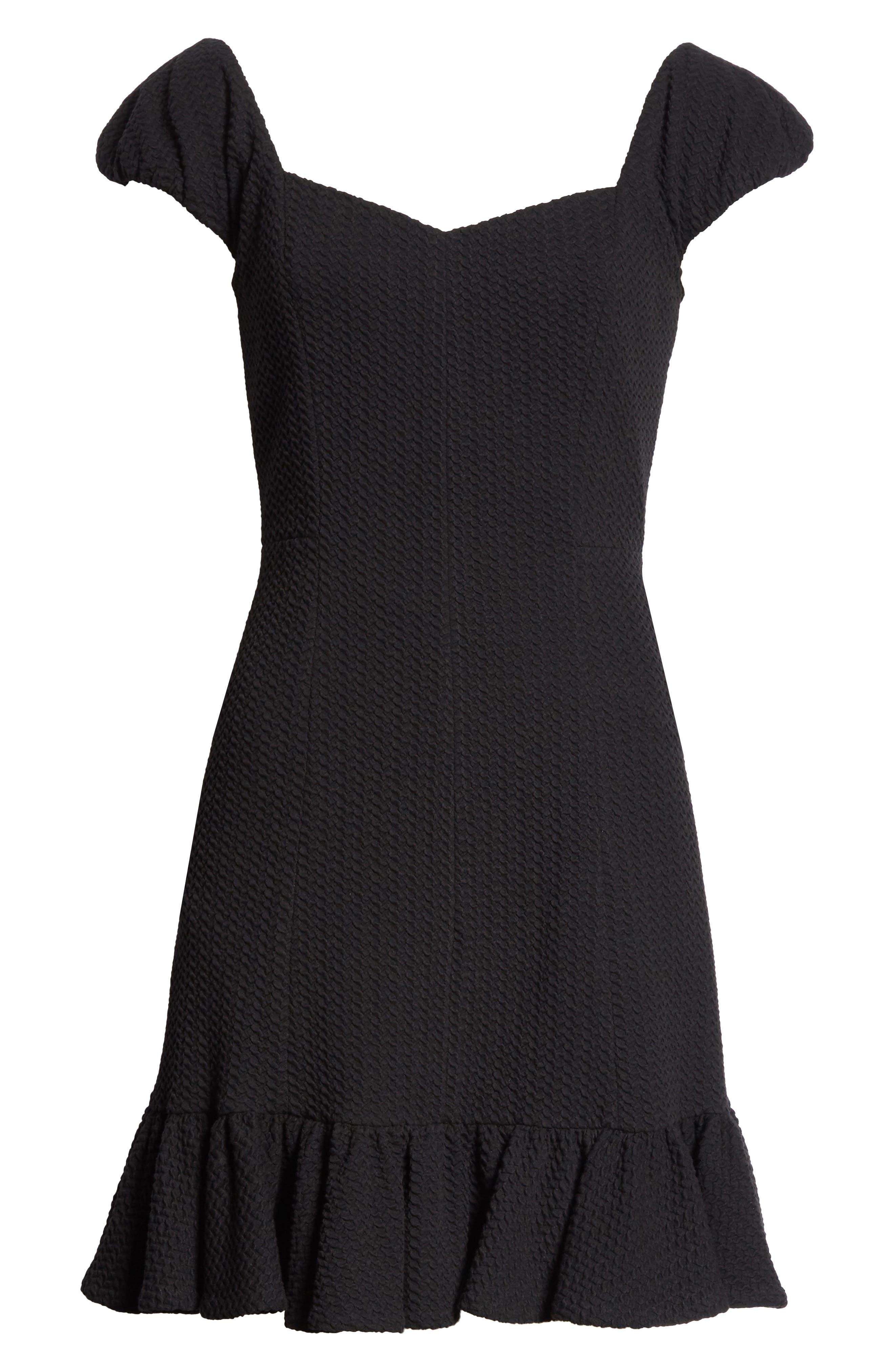 Cap Sleeve Ruffle Hem Dress,                             Alternate thumbnail 6, color,                             Black