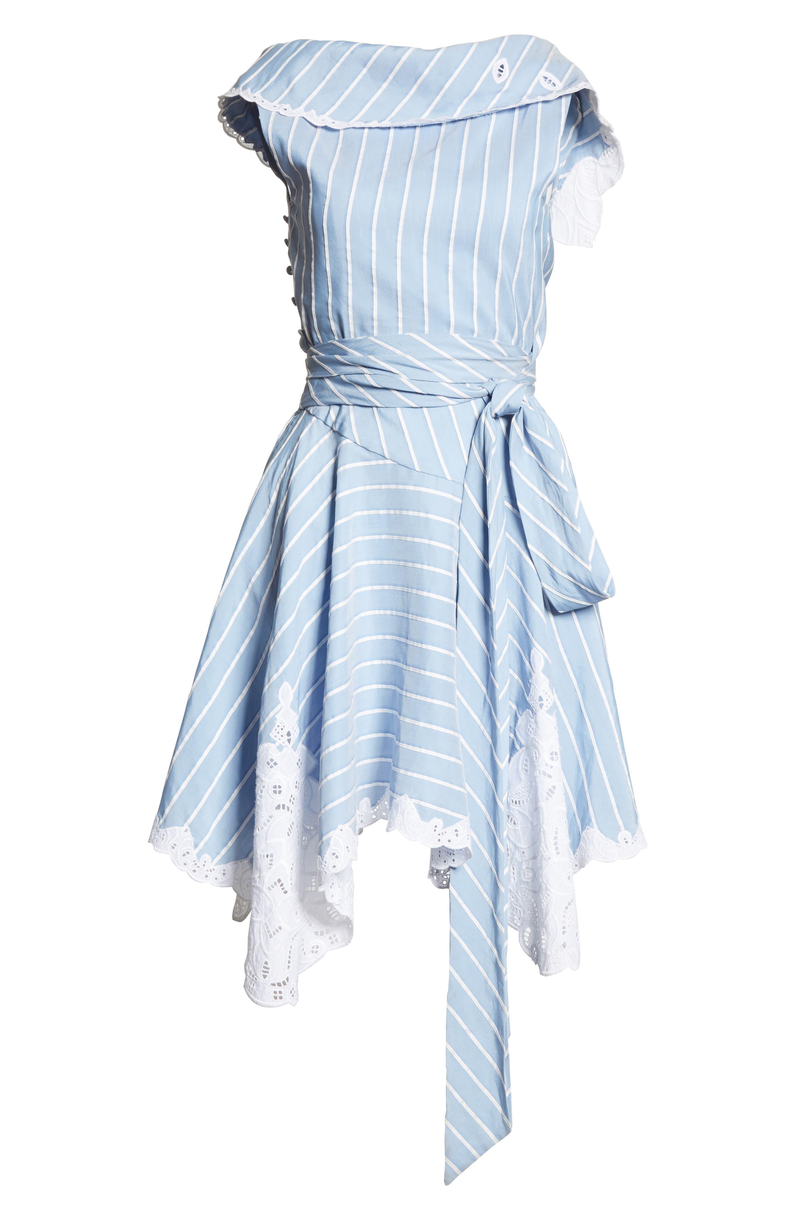 Lace Trim Asymmetrical Dress,                             Alternate thumbnail 6, color,                             White/ Chambray