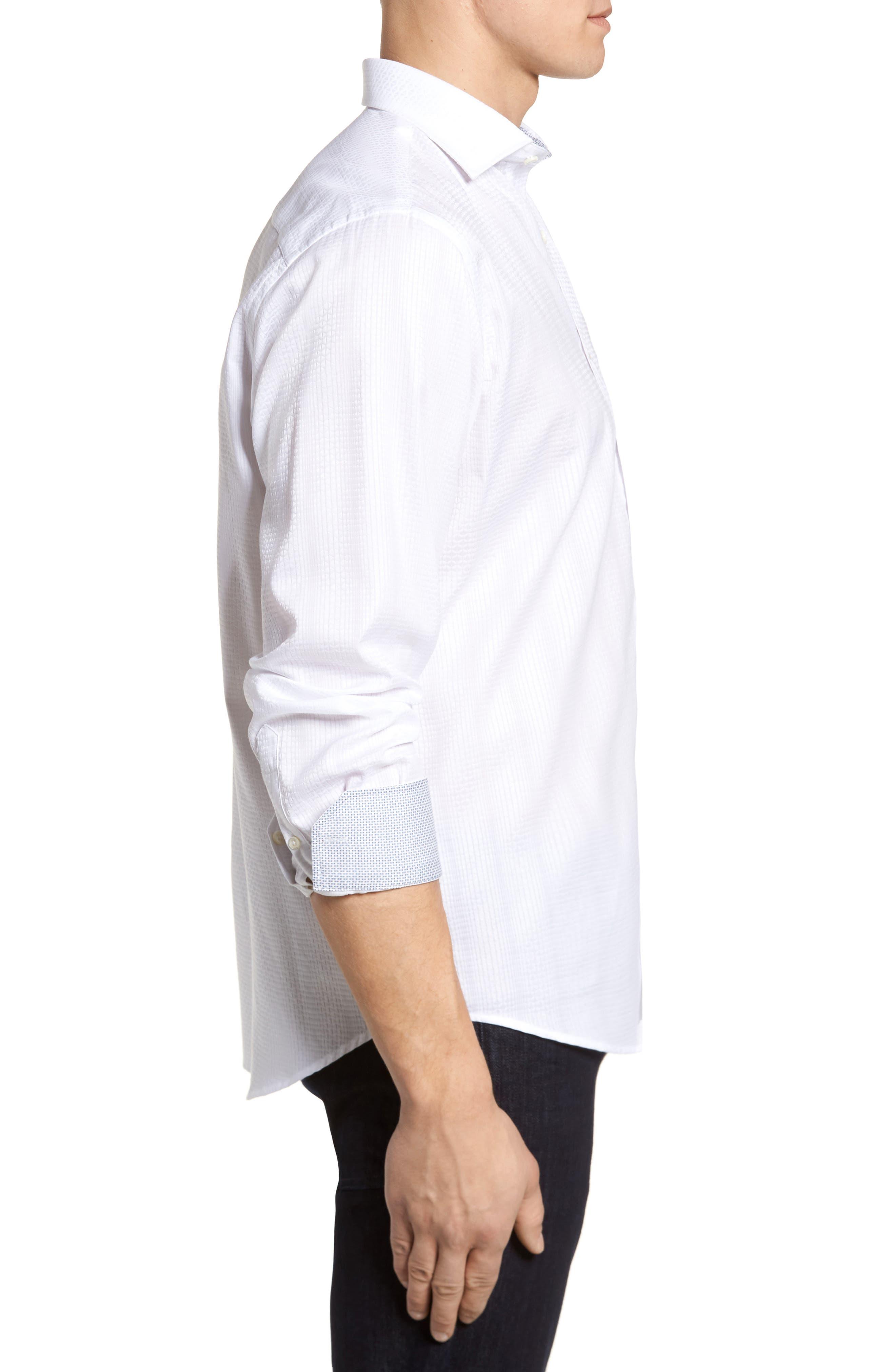 Tonal Diamond Jacquard Classic Fit Sport Shirt,                             Alternate thumbnail 3, color,                             White