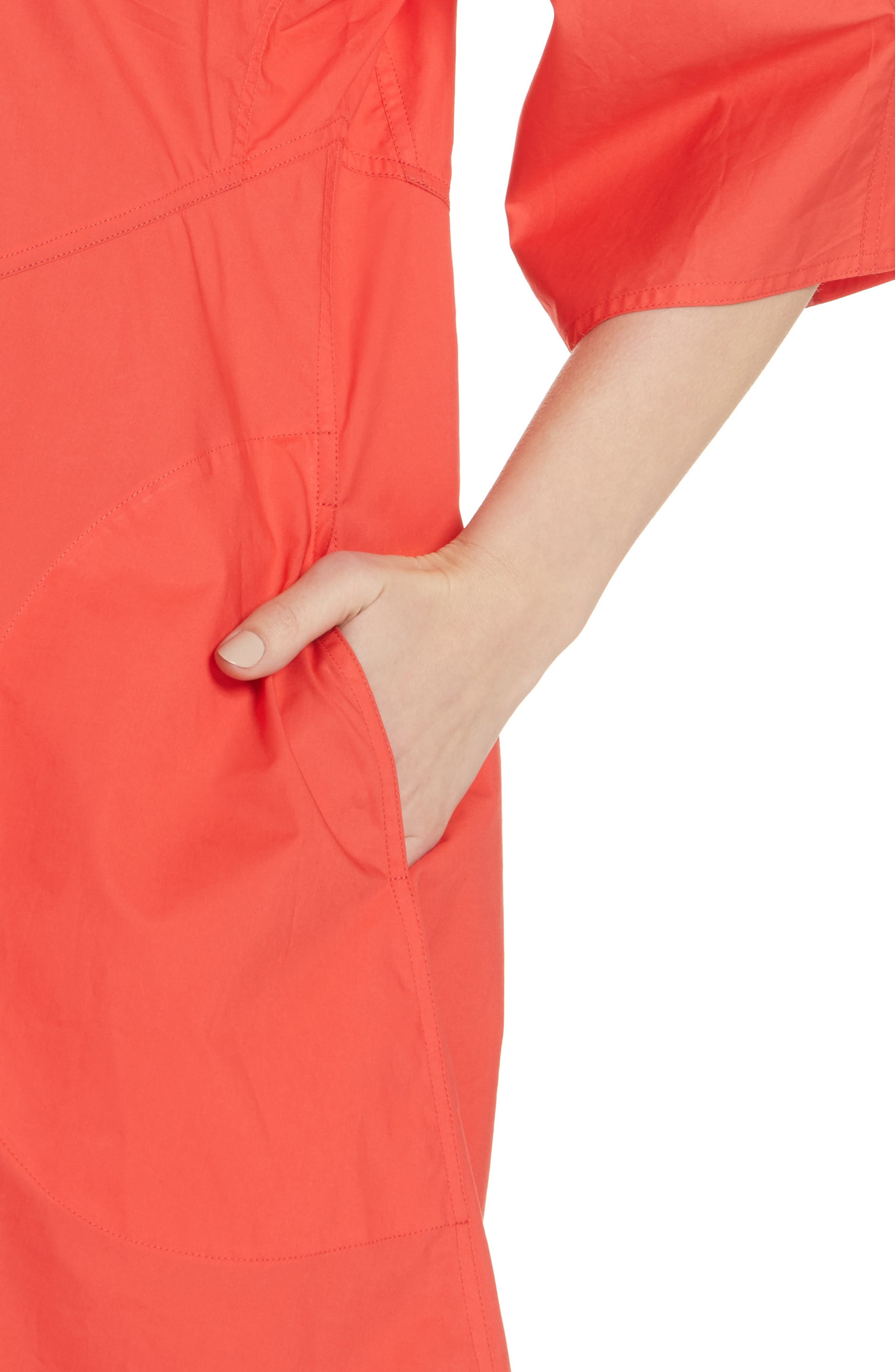 Diagonal Waist Dress,                             Alternate thumbnail 4, color,                             Poppy