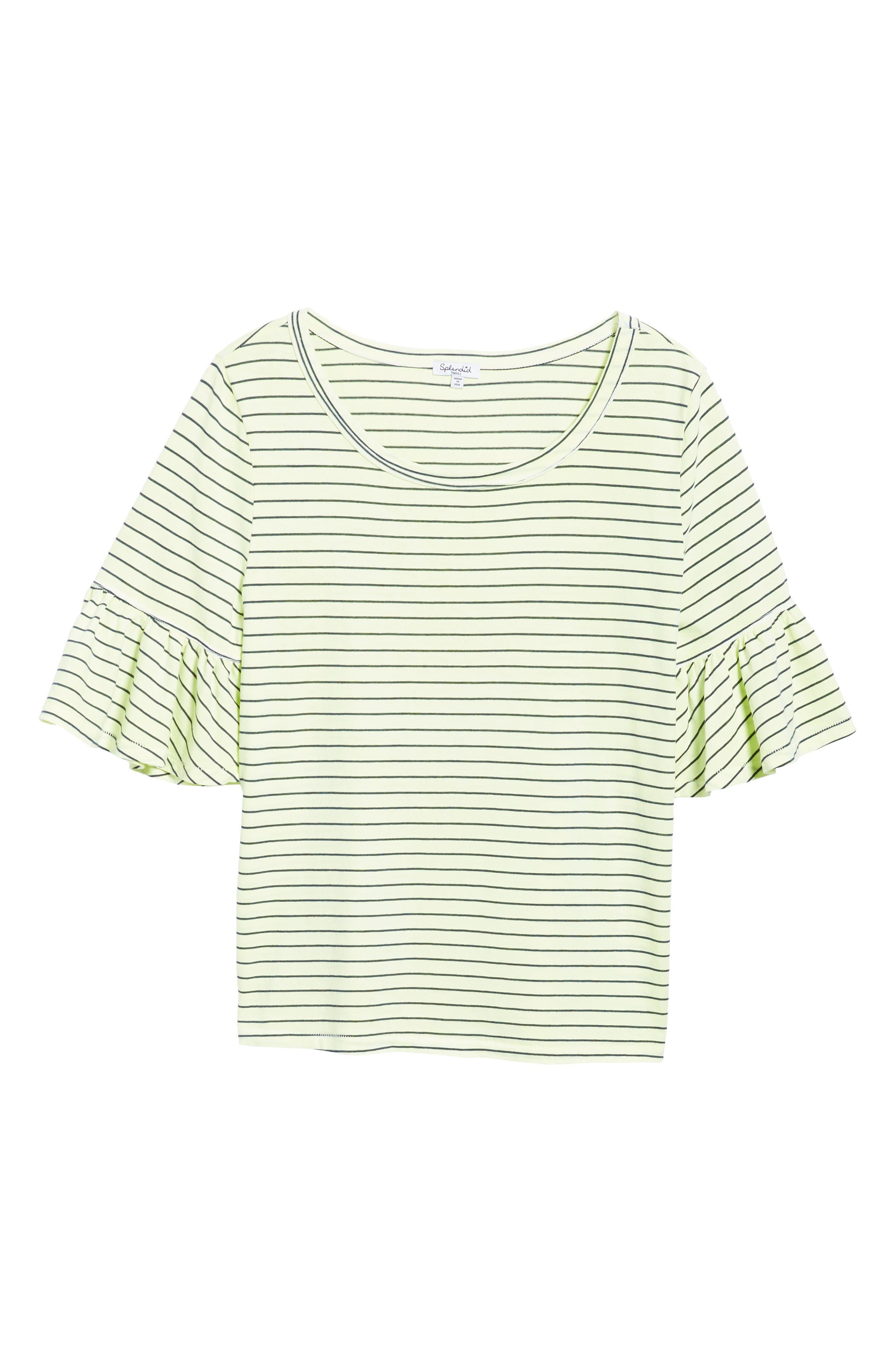 Stripe Ruffle Sleeve Tee,                             Alternate thumbnail 6, color,                             Yellow Glow