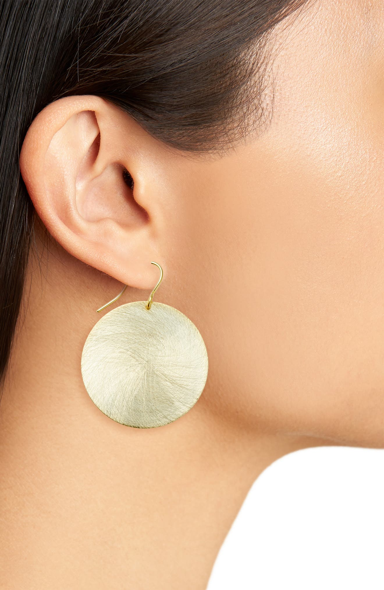 Brushed Disc Drop Earrings,                             Alternate thumbnail 2, color,                             Gold